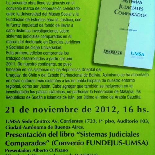 """""""Presentación del libro: SISTEMAS JUDICIALES COMPARADOS – TOMO I"""""""