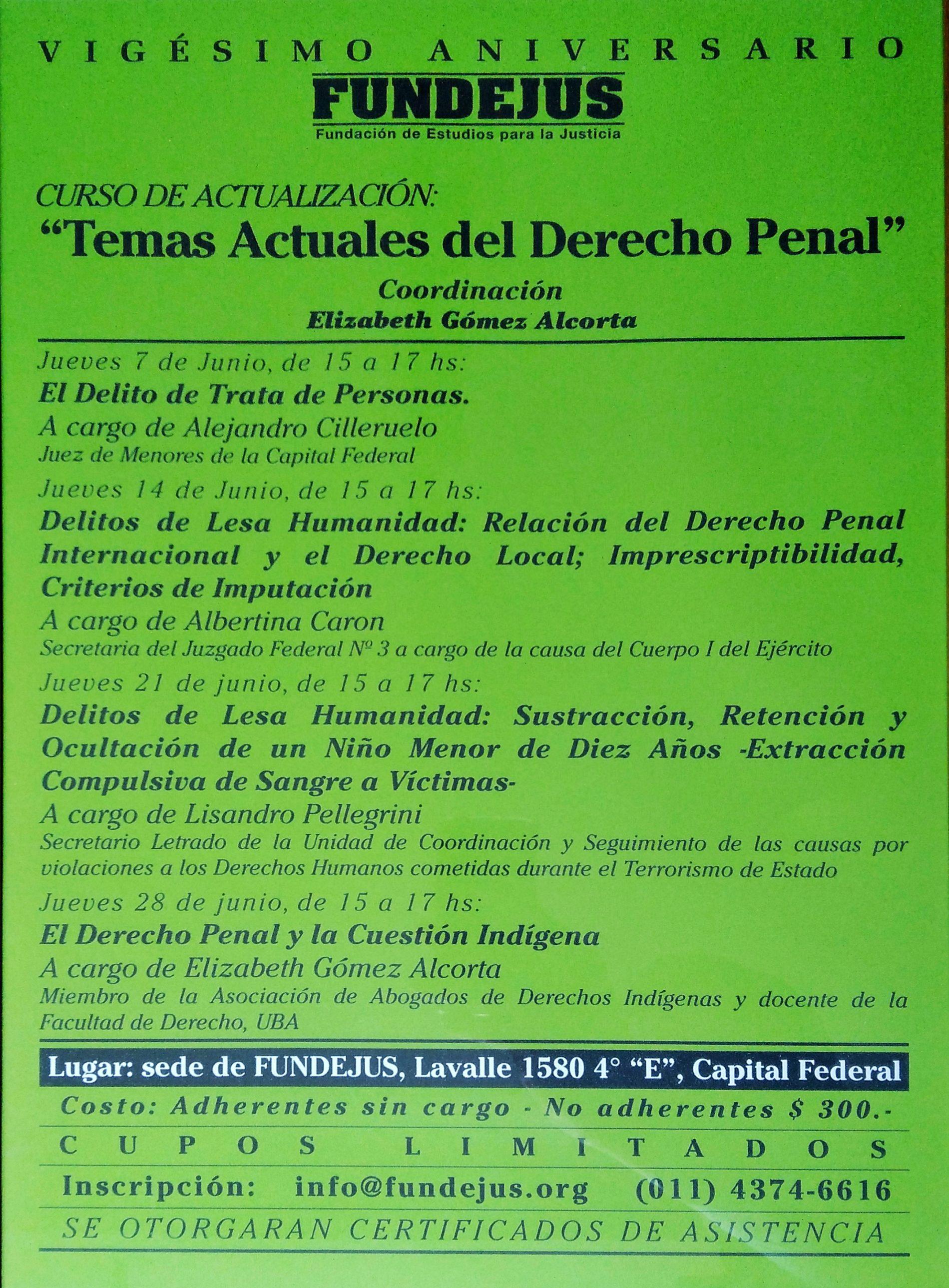 Curso de actualización: «TEMAS ACTUALES DEL DERECHO PENAL»