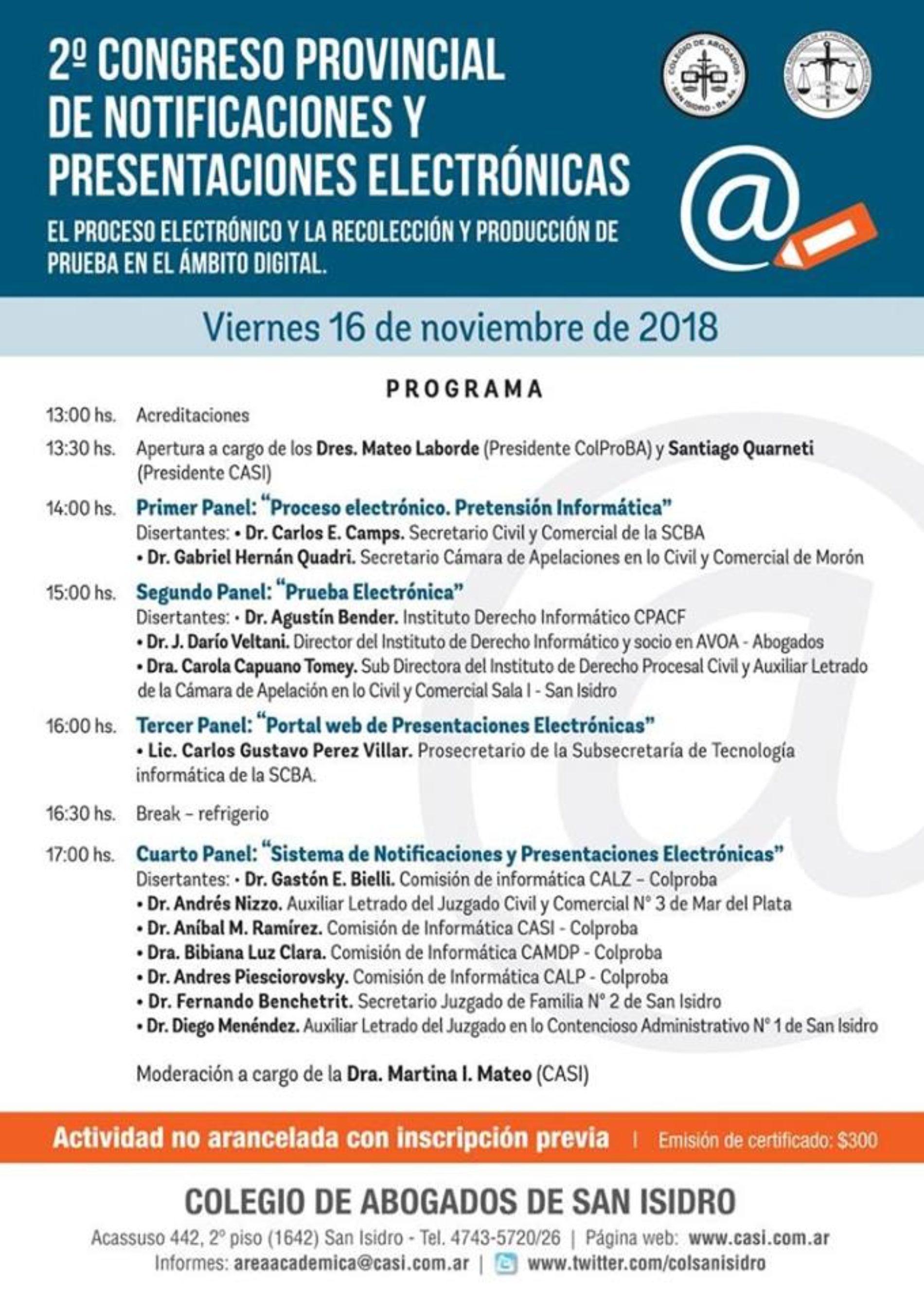 """""""2° CONGRESO DE NOTIFICACIONES Y PRESENTACIONES ELECTRÓNICAS"""""""