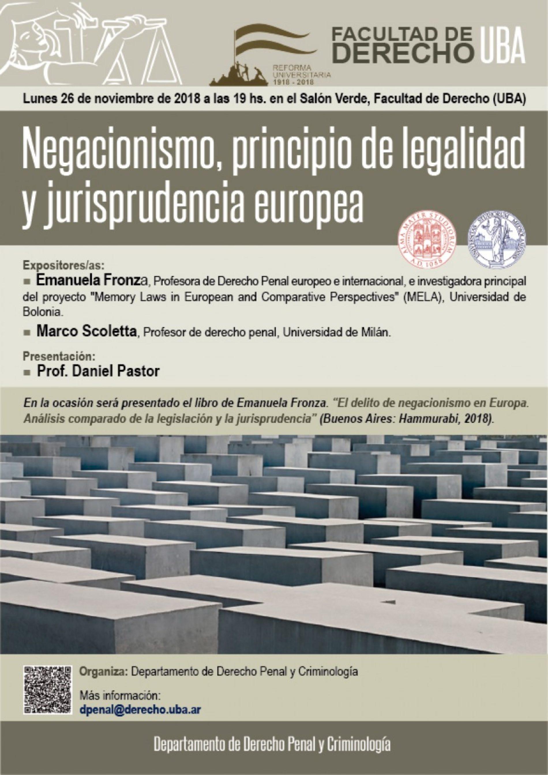 «Negacionismo, principio de legalidad y jurisprudencia europea»