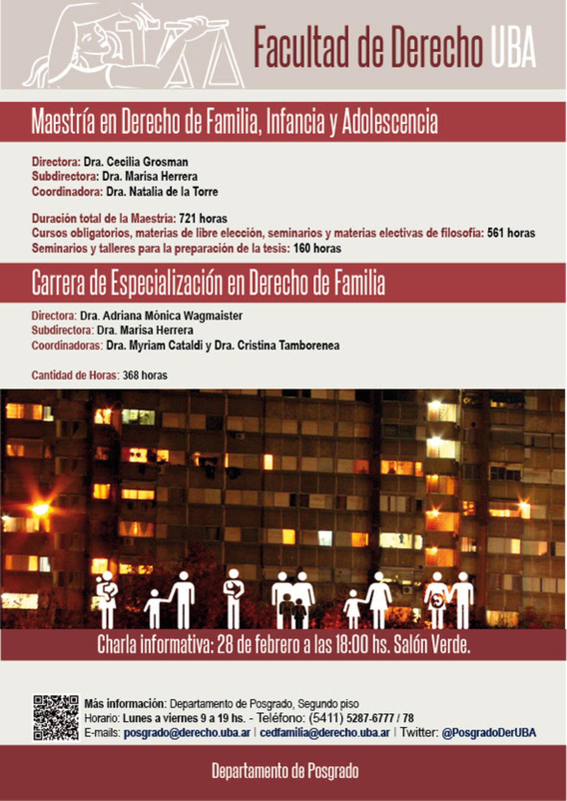 «Charla informativa de la Maestría en Derecho de Familia, Infancia y Adolescencia y de la Carrera de especialización en Derecho de Familia»
