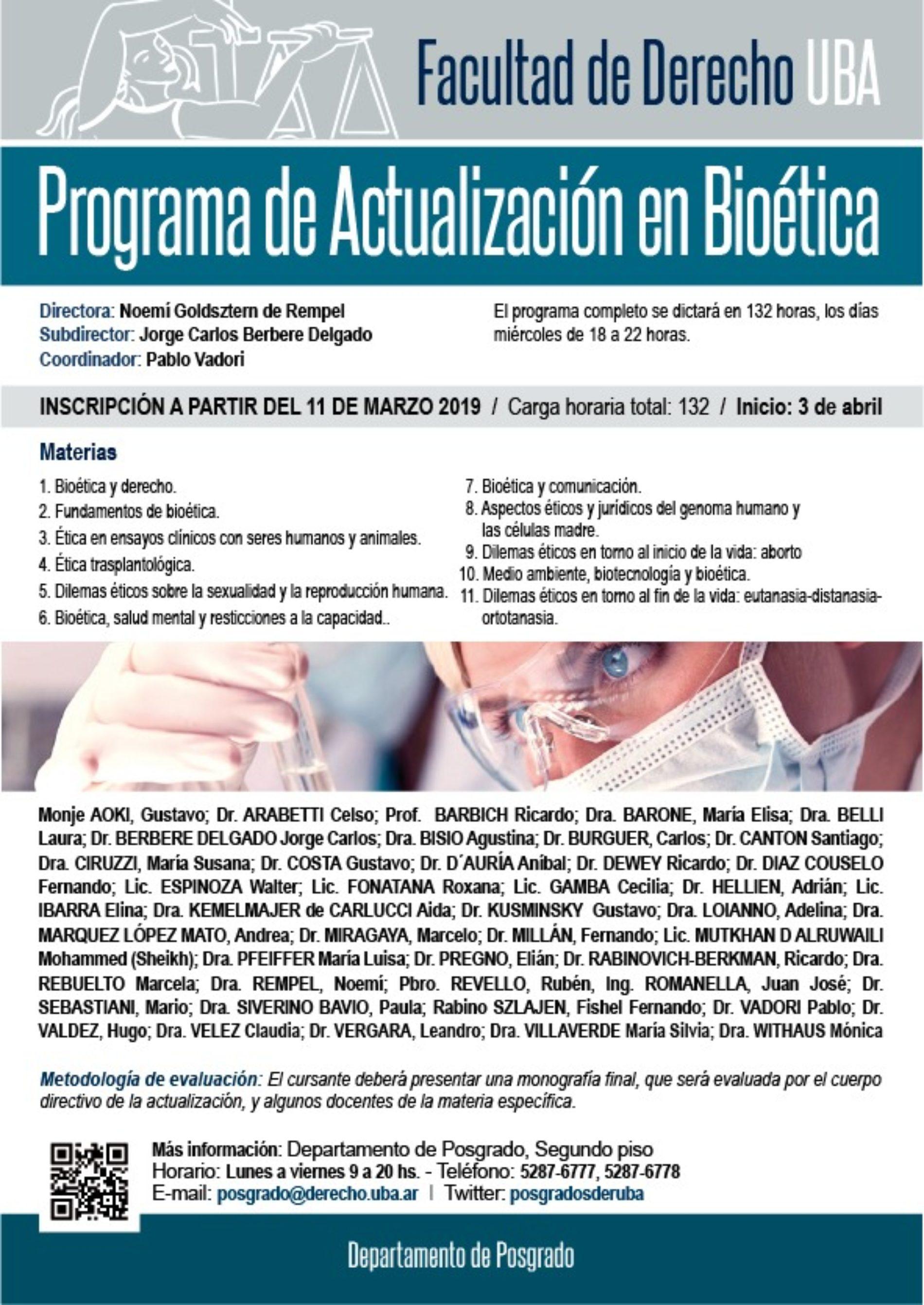 «PROGRAMA DE ACTUALIZACIÓN EN BIOÉTICA»