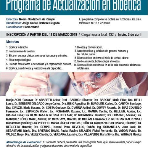 """PROGRAMA DE ACTUALIZACIÓN EN BIOÉTICA"""