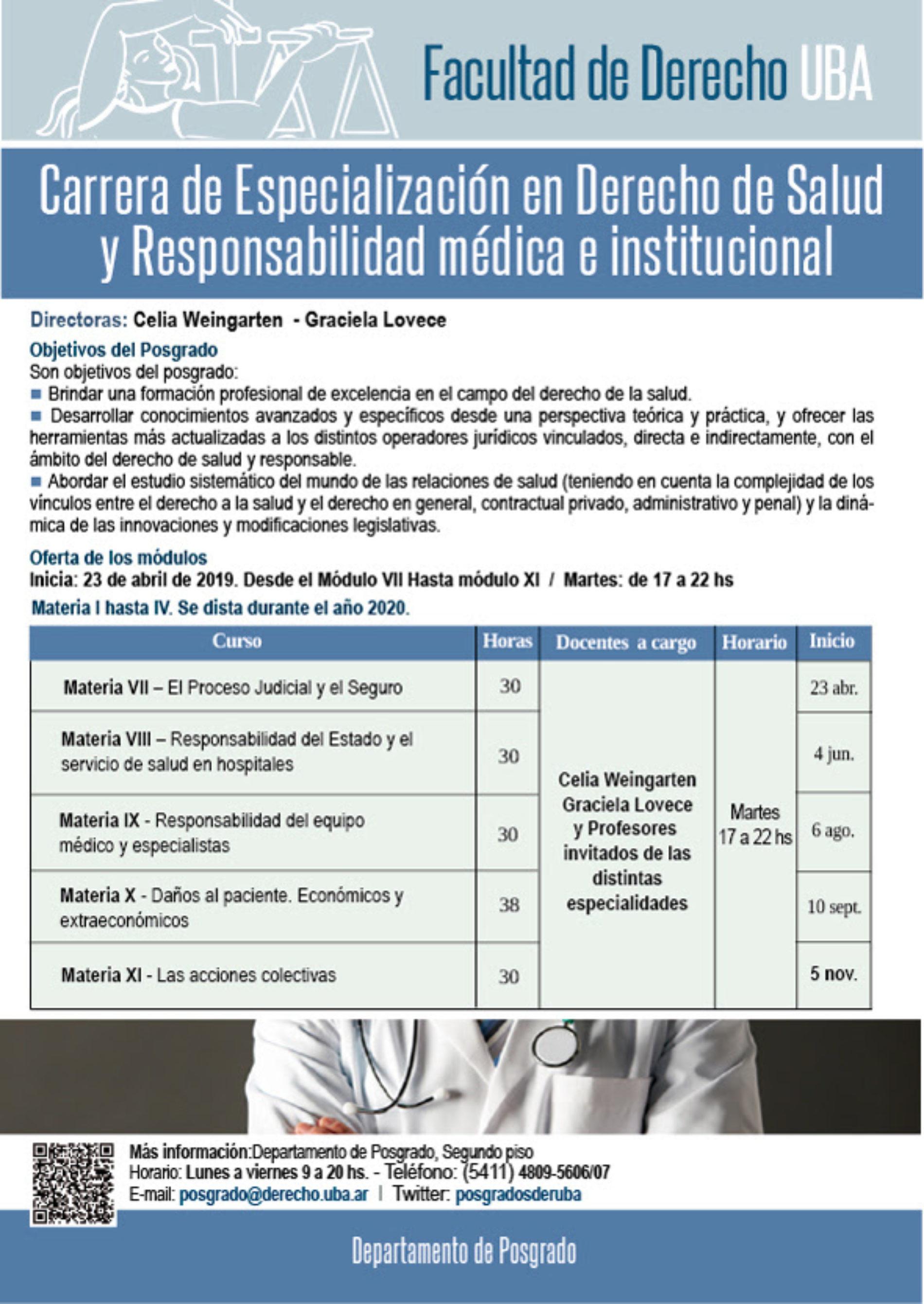 «Carrera de especialización en Derecho de Salud y Responsabilidad Médica e Institucional»