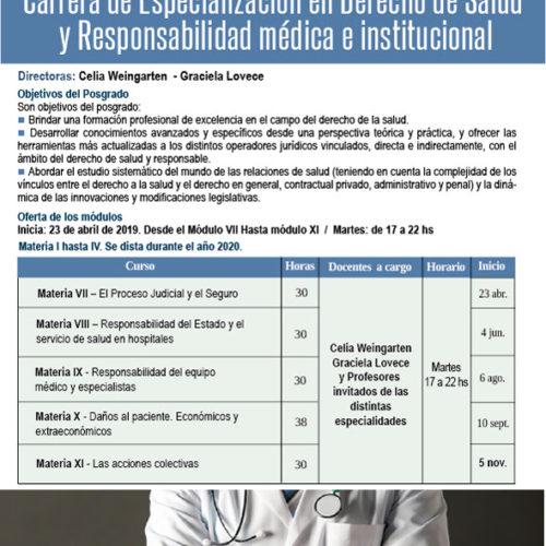 """""""Carrera de especialización en Derecho de Salud y Responsabilidad Médica e Institucional"""""""