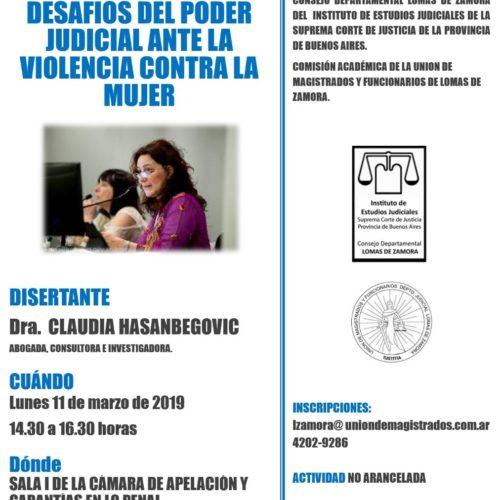 """Jornada: """"RESPONSABILIDAD Y DESAFIOS DEL PODER JUDICIAL ANTE LA VIOLENCIA CONTRA LA MUJER"""""""