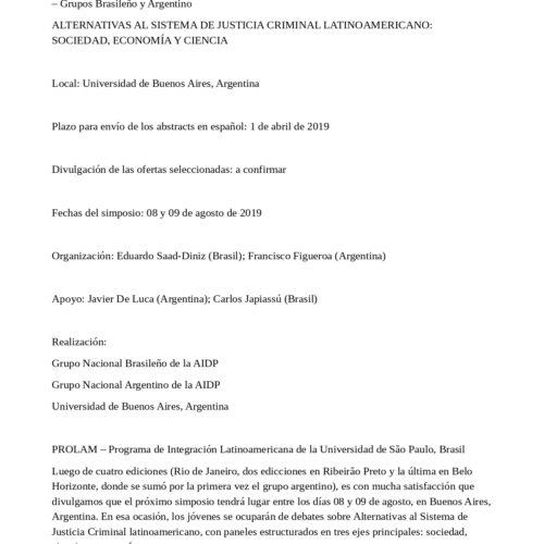 V Simposio Científico Internacional de los Jóvenes Penalistas de la Asociación Internacional de Derecho Penal. -Llamado de trabajos-