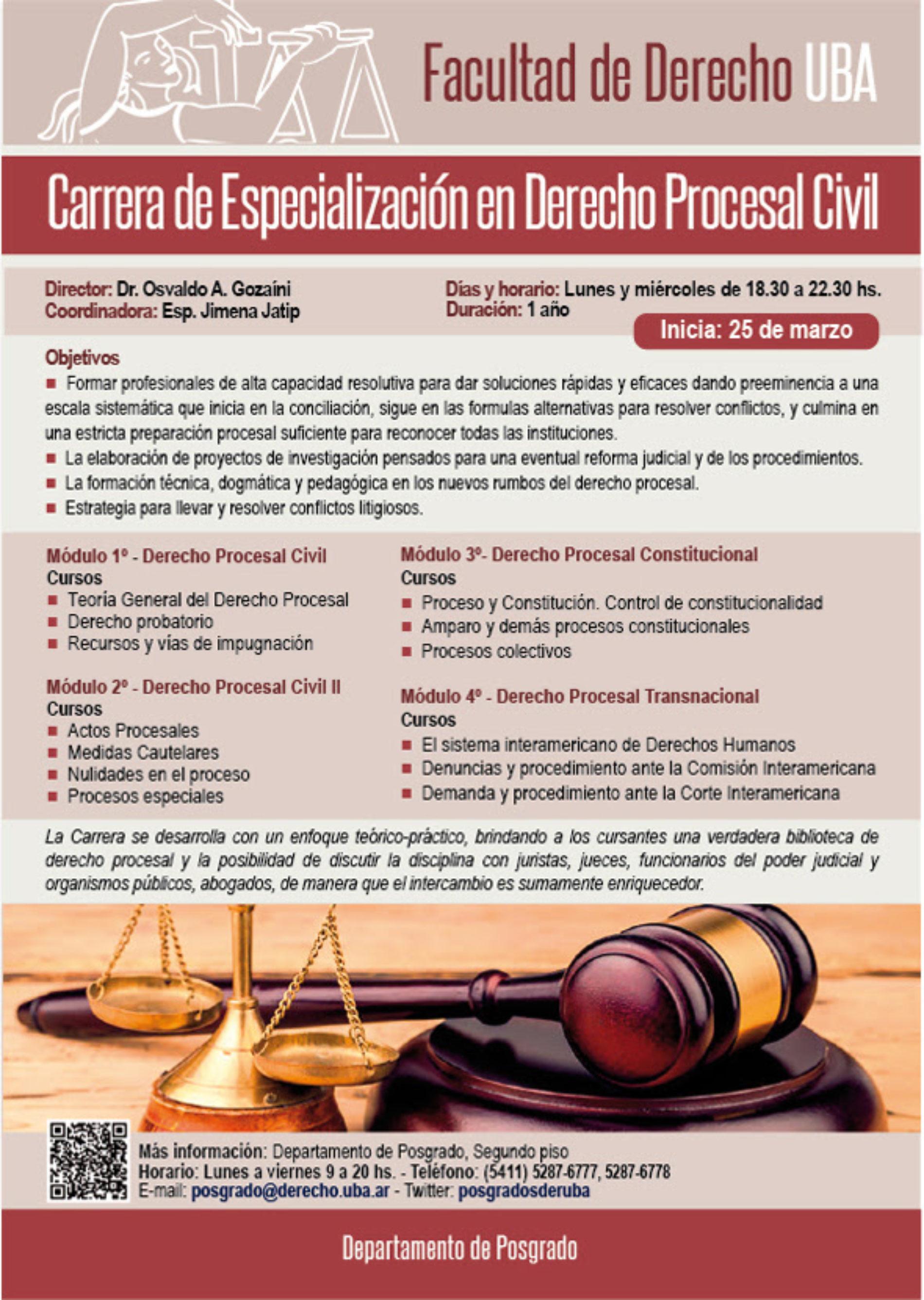 «Carrera de Especialización en Derecho Procesal Civil»