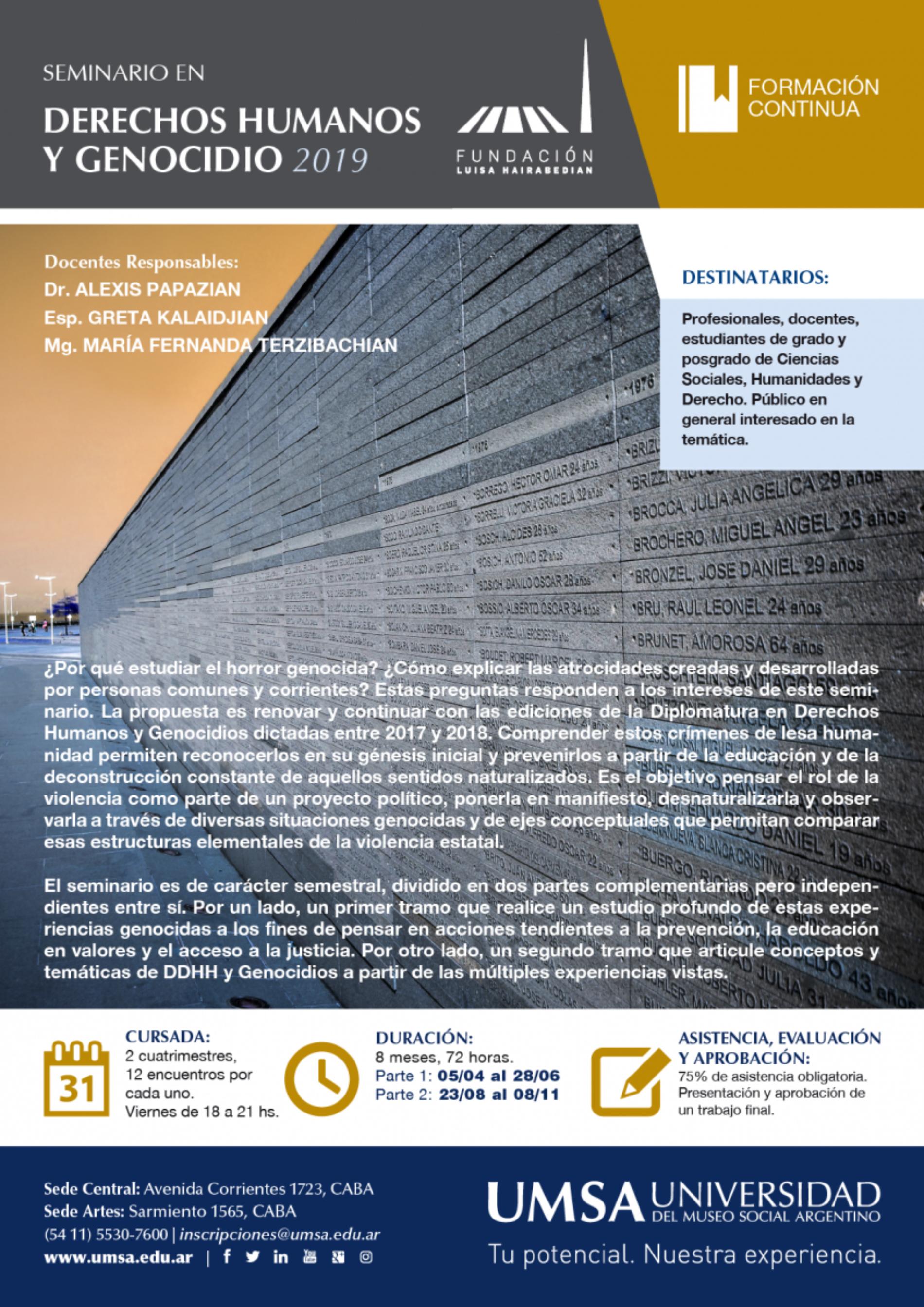 Seminario en DERECHOS HUMANOS Y GENOCIDIO 2019 – Inicio 5 de abril – UMSA