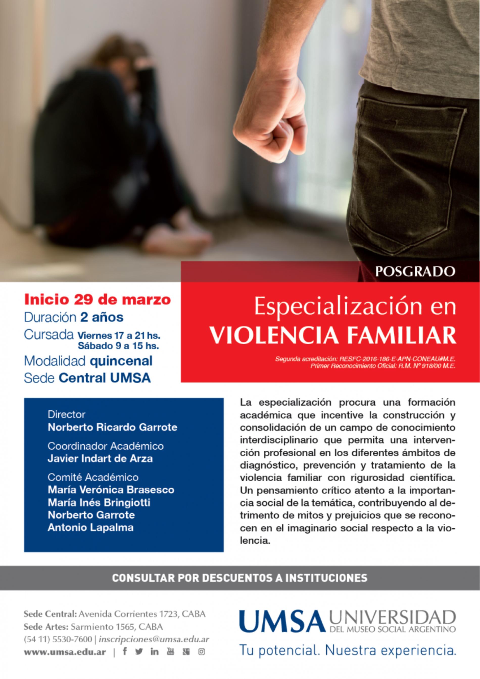 Especialización en VIOLENCIA FAMILIAR – Inicio 29 de marzo – UMSA