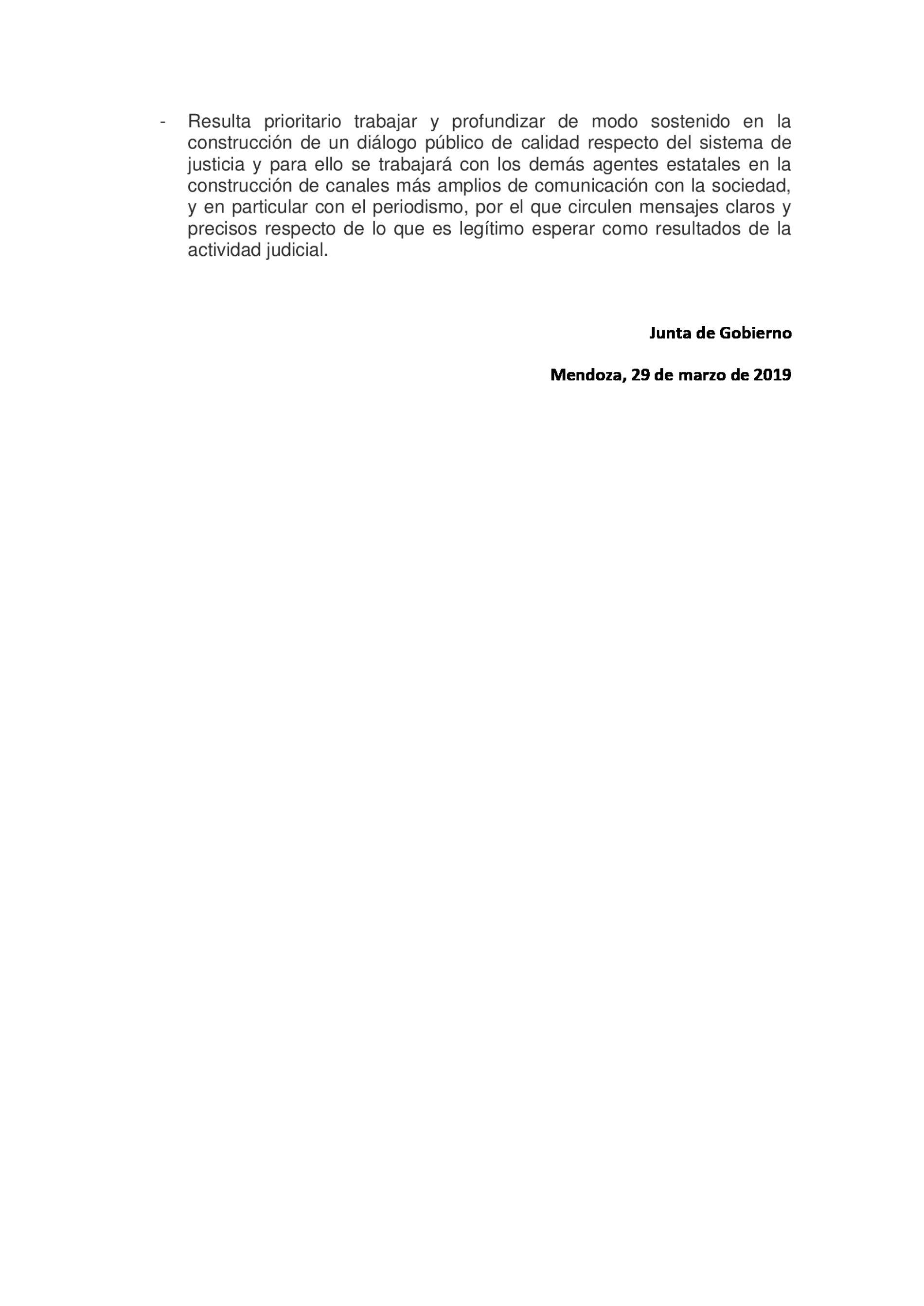 Comunicado FAM (Federación Argentina de la Magistratura y la Función Judicial)
