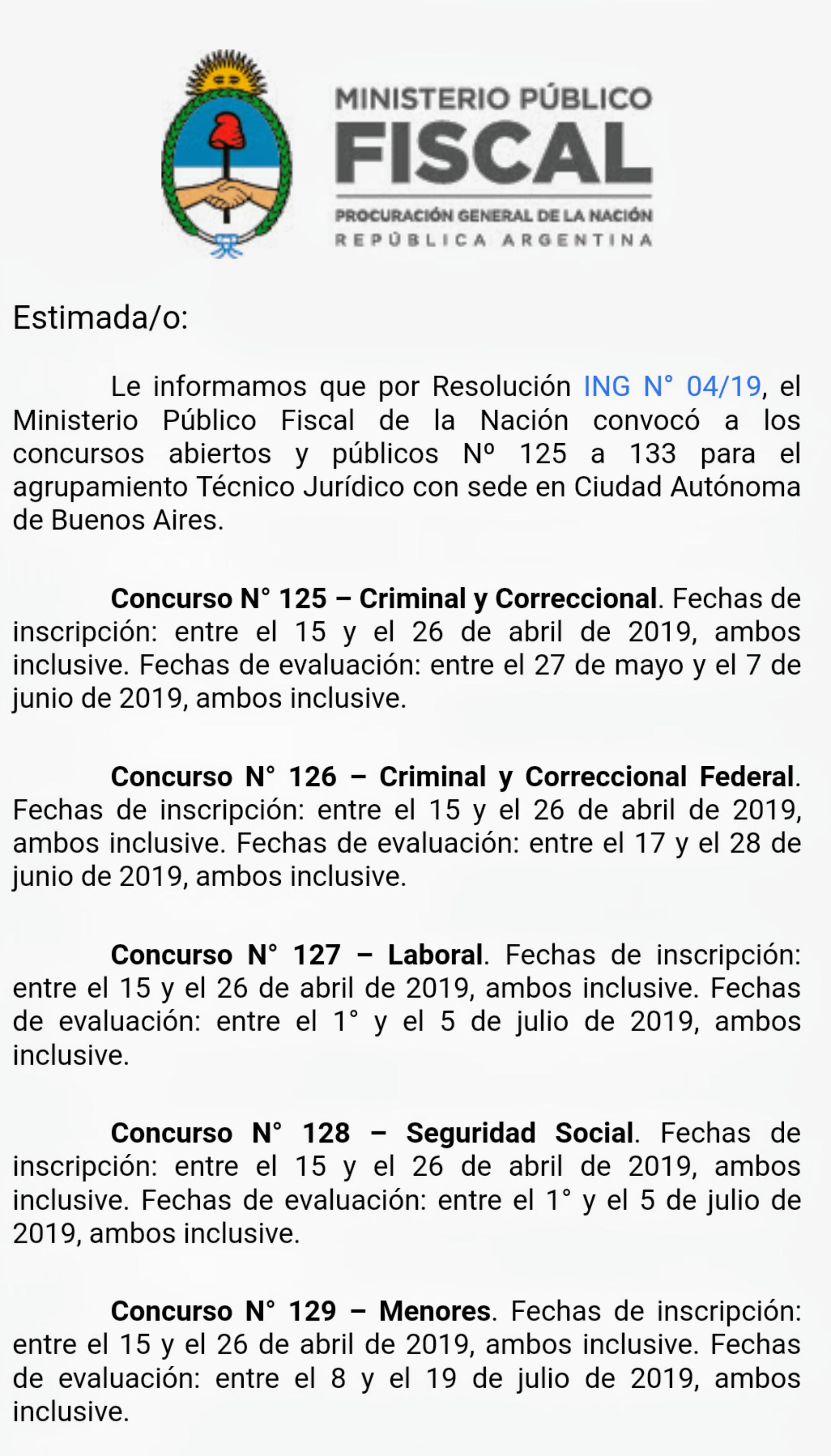 INGRESO DEMOCRÁTICO – MINISTERIO PÚBLICO FISCAL.  Convocatoria a los concursos N° 125 a 133 -Técnico Jurídico- Ciudad Autónoma de Buenos Aires.
