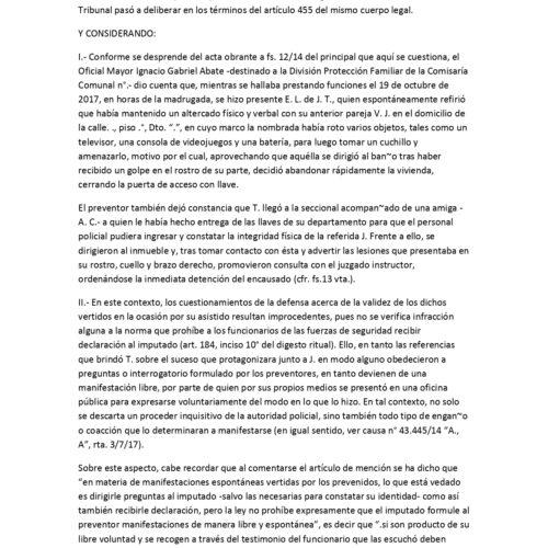 Fallo novedoso Cámara Nacional de Apelaciones en lo Criminal y Correccional : garantías constitucionales ( valor de la manifestación del imputado a personal policial )