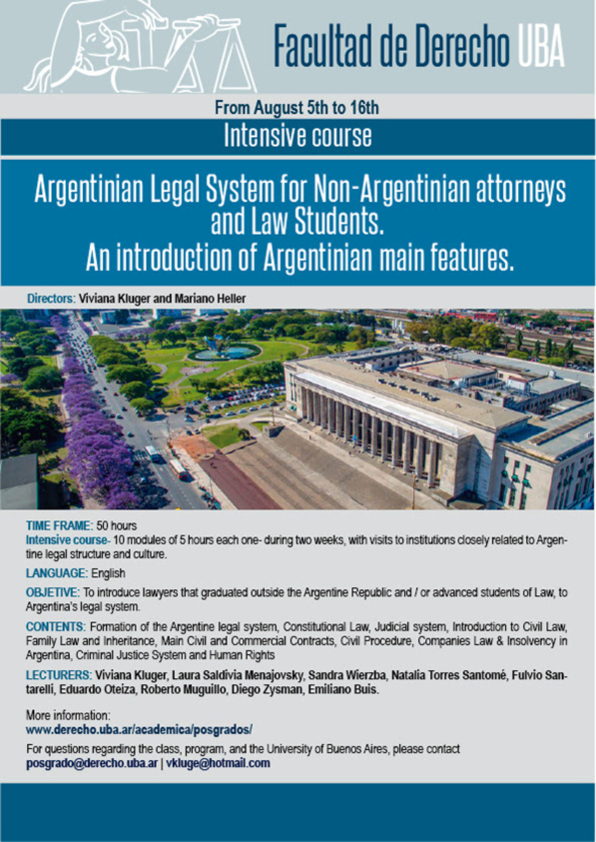 Intensive course «Argentinian Legal system for Non-Argentinian attorneys. An introduction of Argentinian main features»