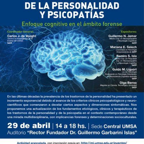 UMSA-SATP – Jornada «Los trastornos de la personalidad y psicopatías – Enfoque cognitivo en el ámbito forense» – 29 de abril