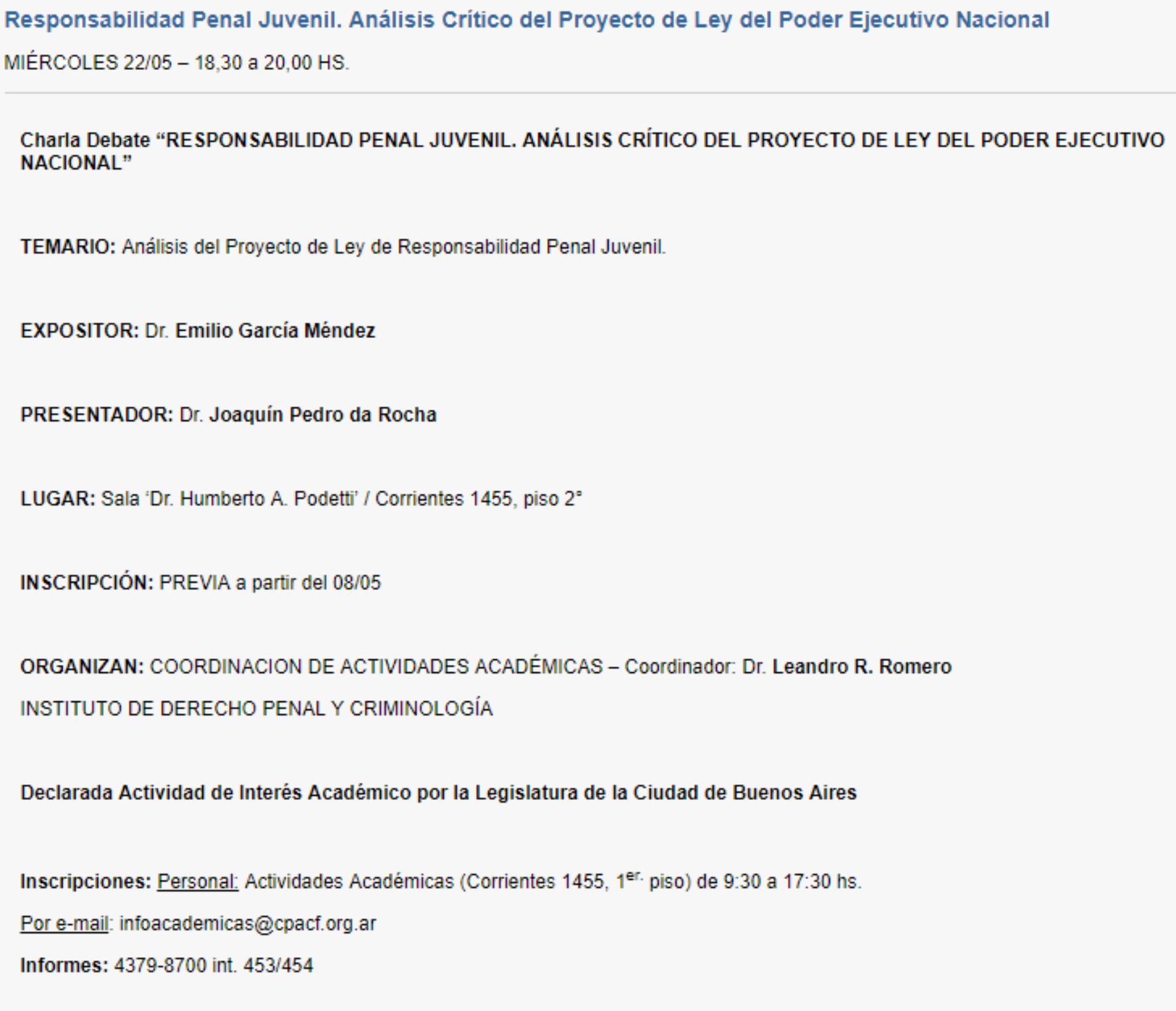 CHARLA-DEBATE: «RESPONSABILIDAD PENAL JUVENIL. ANÁLISIS CRÍTICO DEL PROYECTO DE LEY DEL PODER EJECUTIVO NACIONAL»