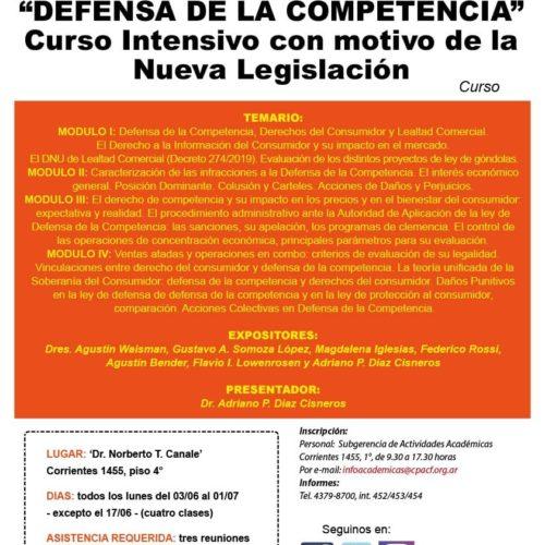 «DEFENSA DE LA COMPETENCIA» Curso Intensivo con motivo de la Nueva Legislación.