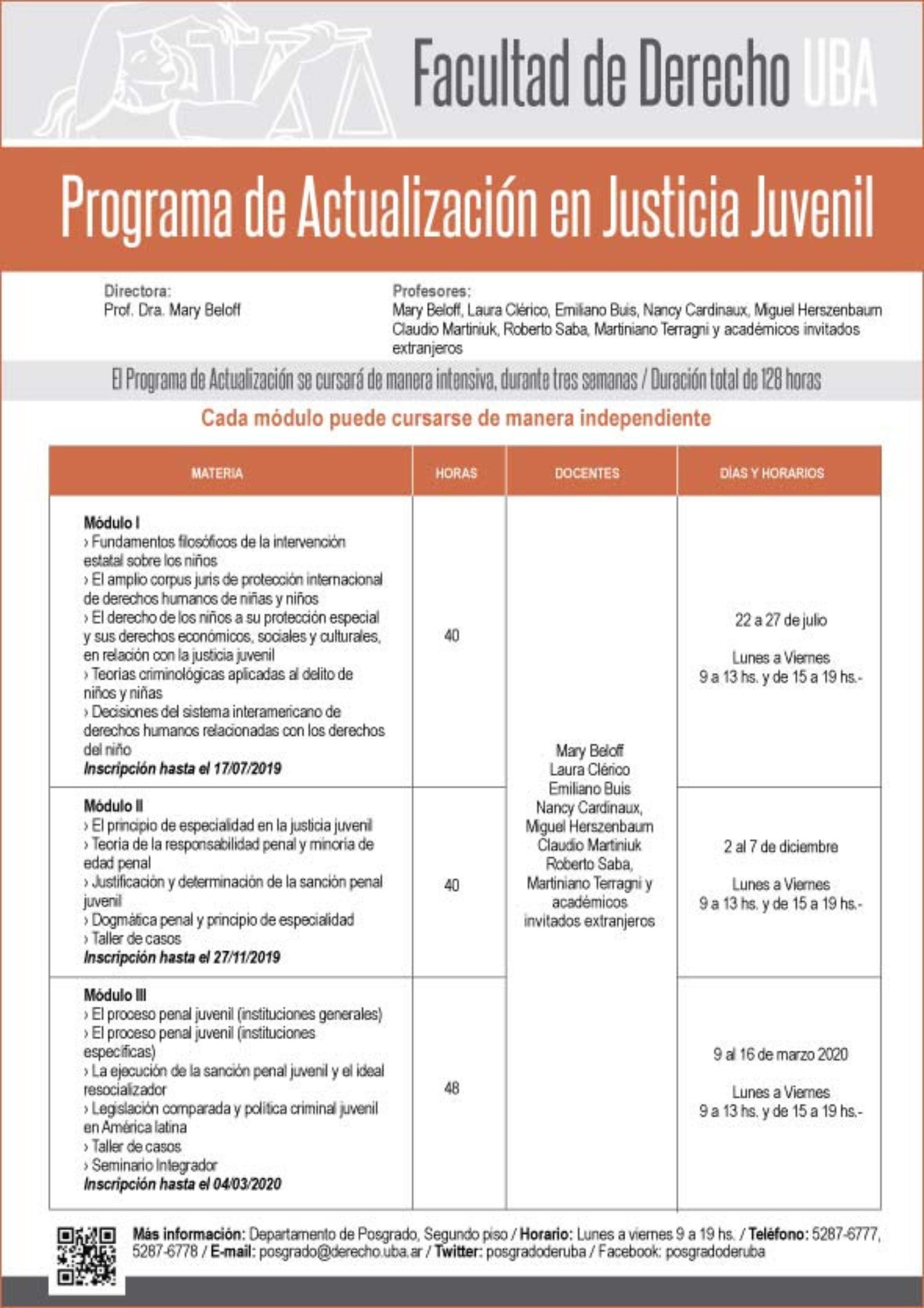 Programa de actualización en Justicia Juvenil