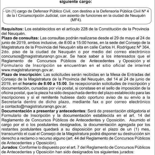 Convocatoria Concurso N° 158. Consejo de la Magistratura de la Provincia del Neuquén