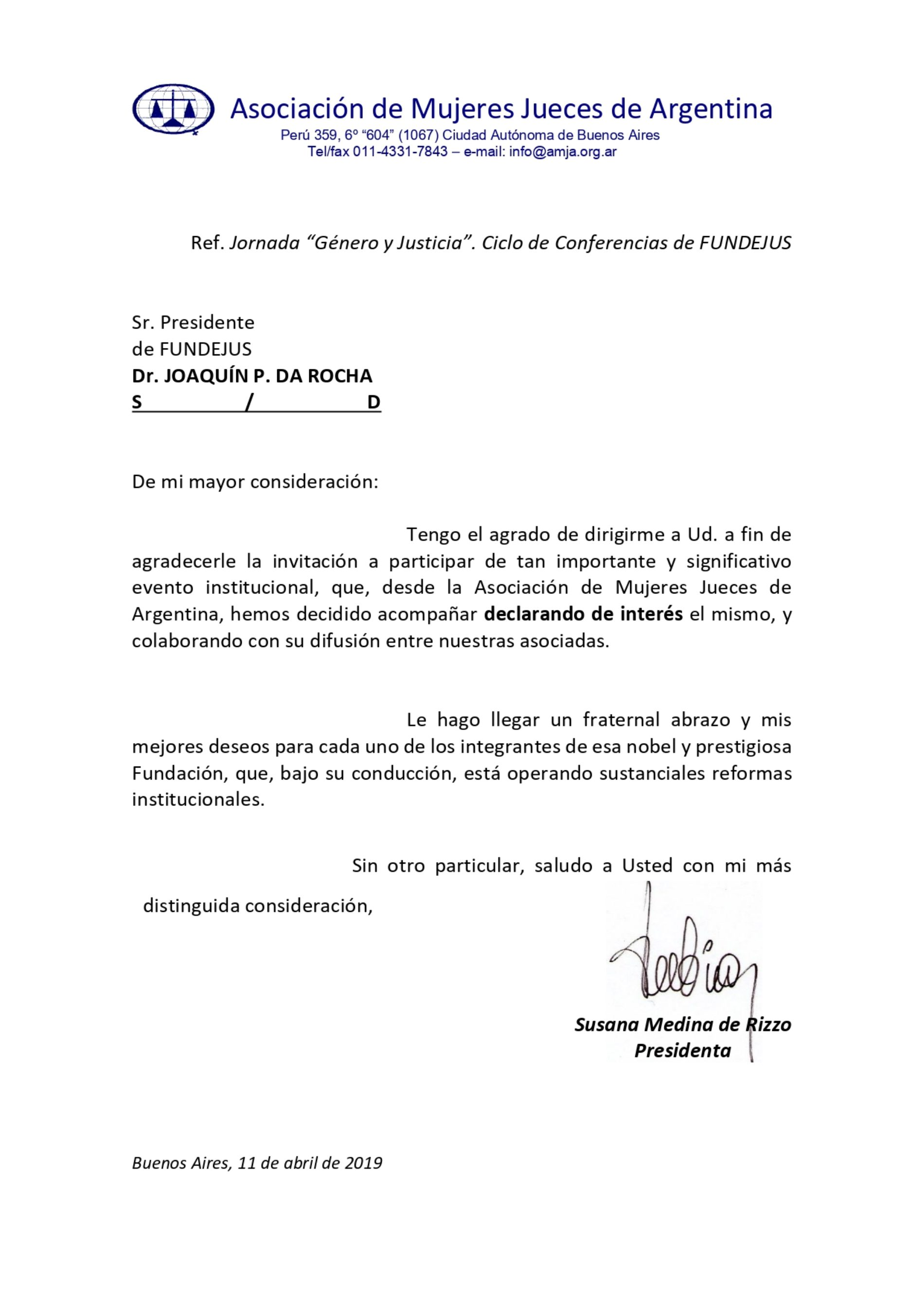 Jornada «Género y Justicia»: Declaración de interés de la Asociación de Mujeres Jueces de Argentina (A.M.J.A)