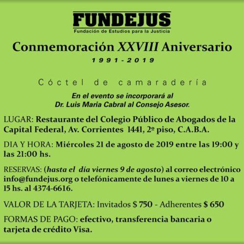 «Conmemoración XXVIII Aniversario de Fundejus» (1991-2019)