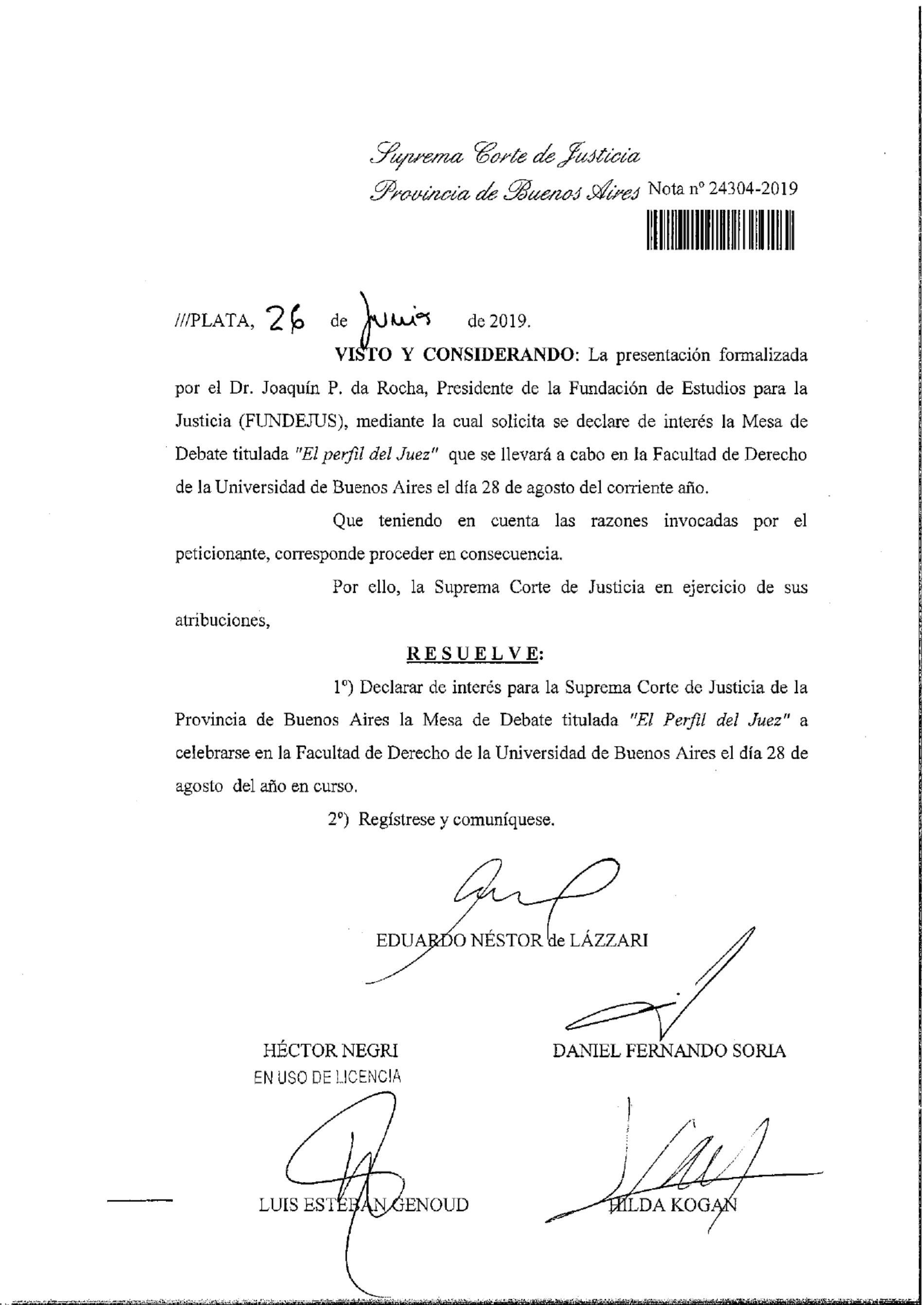 Mesa de Debate «El perfil del juez»: Declaración de interés S.C.J.B.A