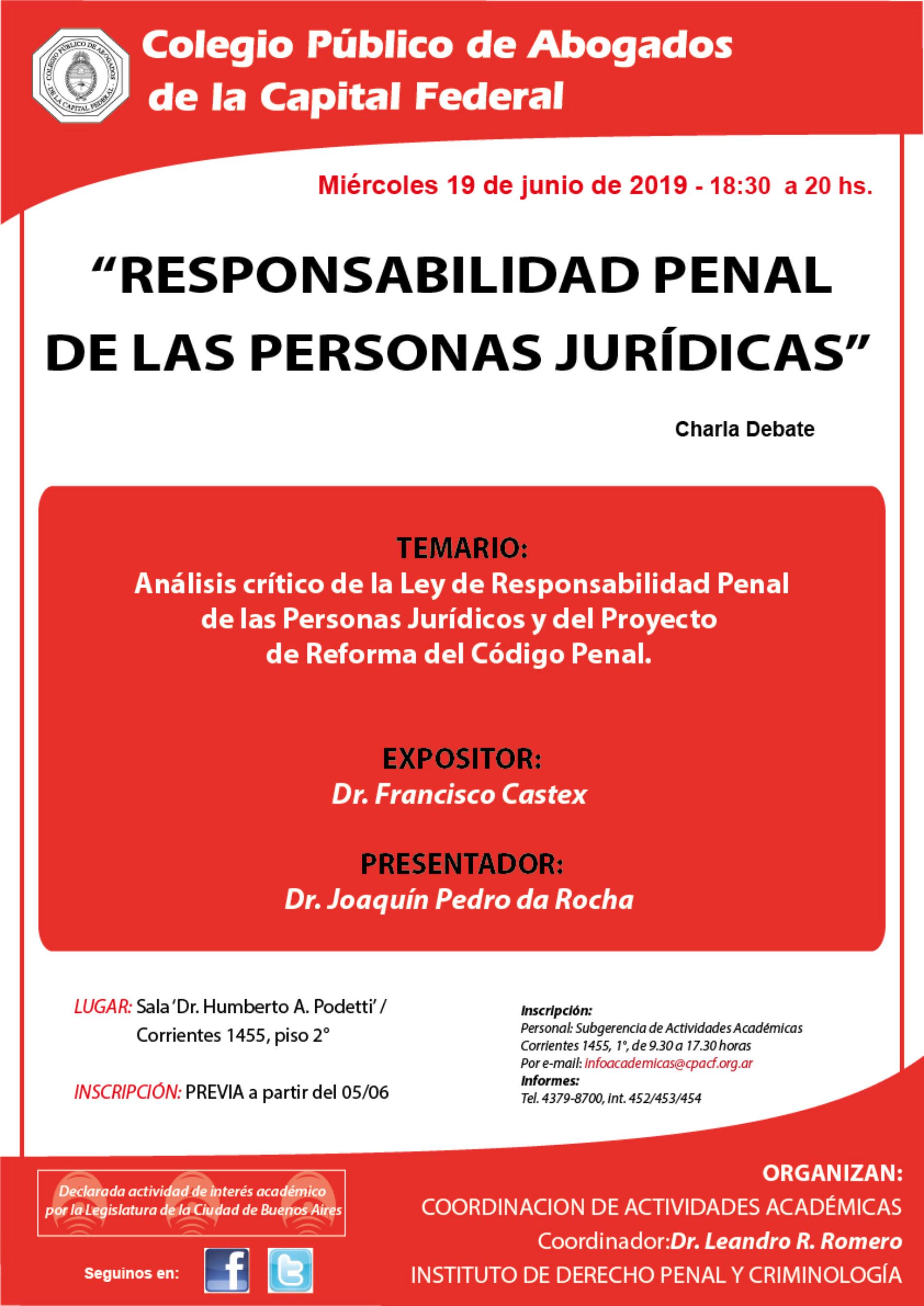 """Charla Debate """"Responsabilidad Penal de las Personas Jurídicas"""""""