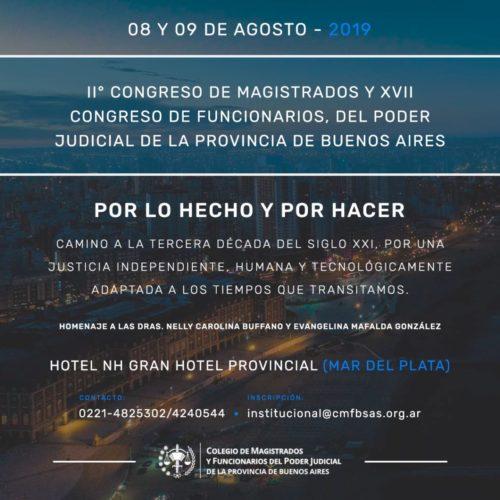 «II Congreso de Magistrados y XVII Congreso de Funcionarios, del Poder Judicial de la Provincia de Buenos Aires»