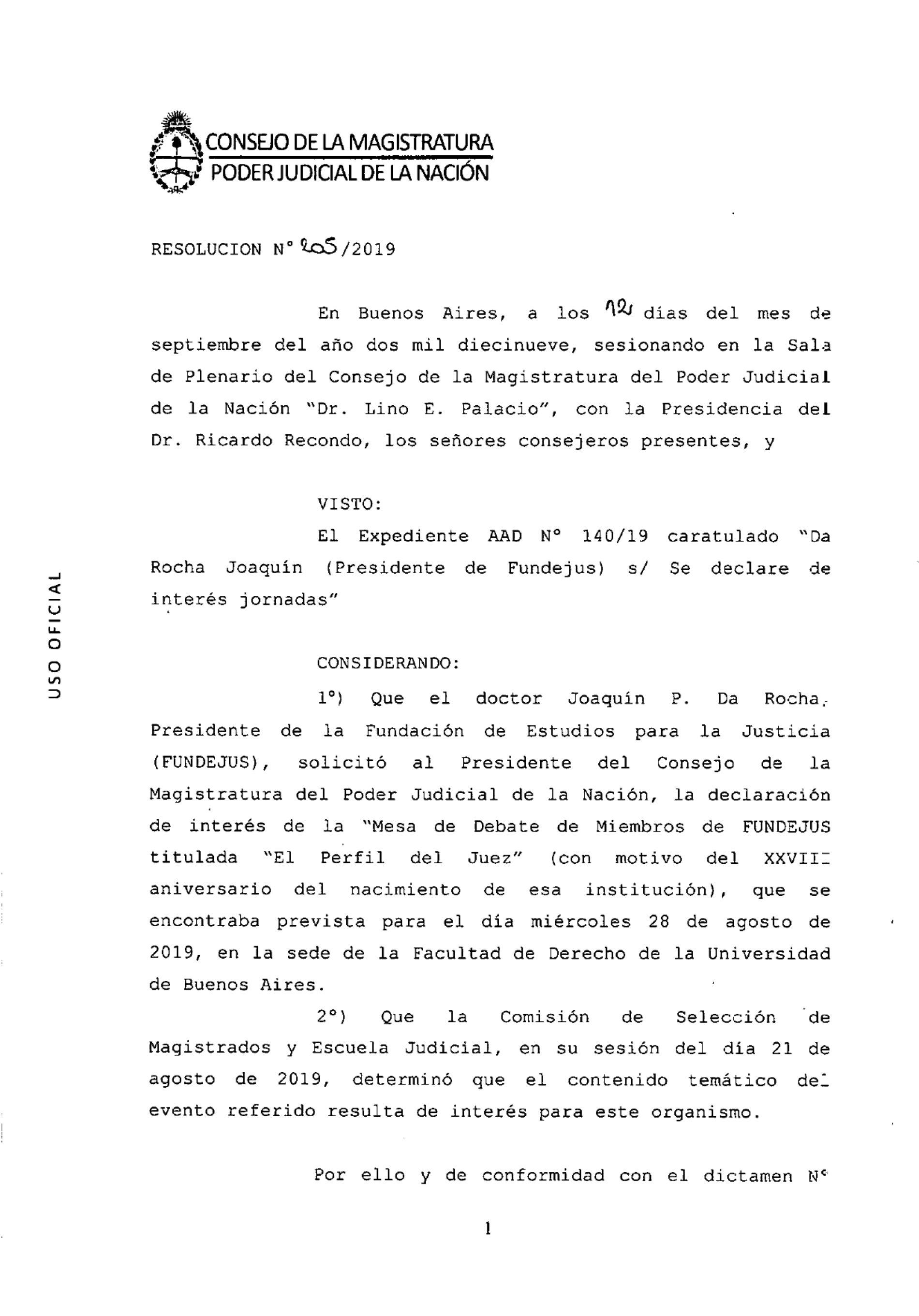 Mesa de Debate «El perfil del juez»: Declaración de interés del Consejo de la Magistratura de la Nación.