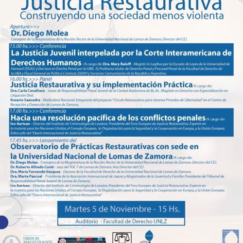 JORNADA sobre: «JUSTICIA RESTAURATIVA. Construyendo una sociedad menos violenta»