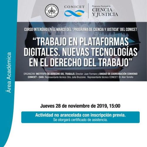 «Trabajo en plataformas digitales. Nuevas tecnologías en el Derecho del Trabajo.» Curso intensivo.