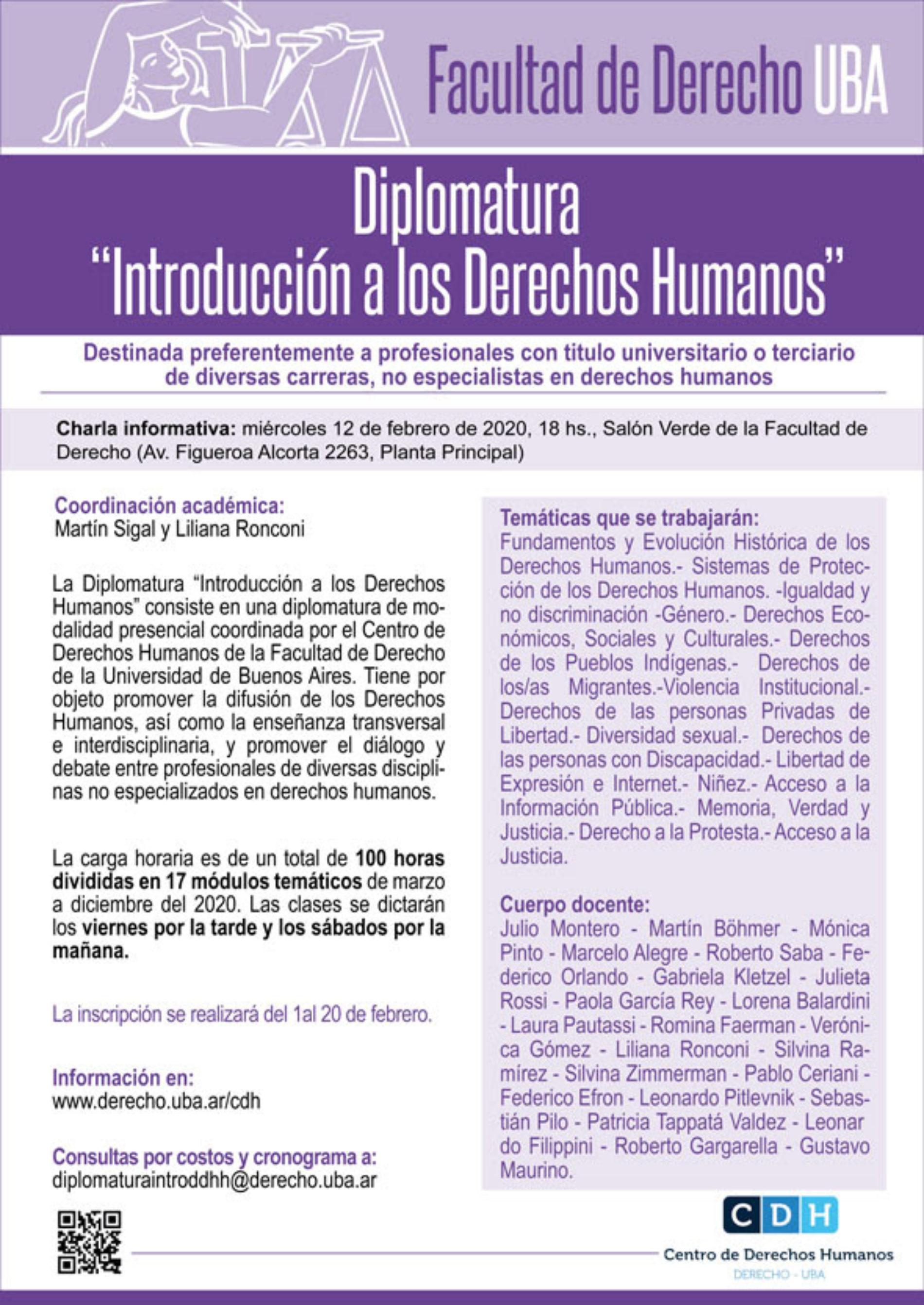 Charla informativa de la Diplomatura «Introducción a los Derechos Humanos»