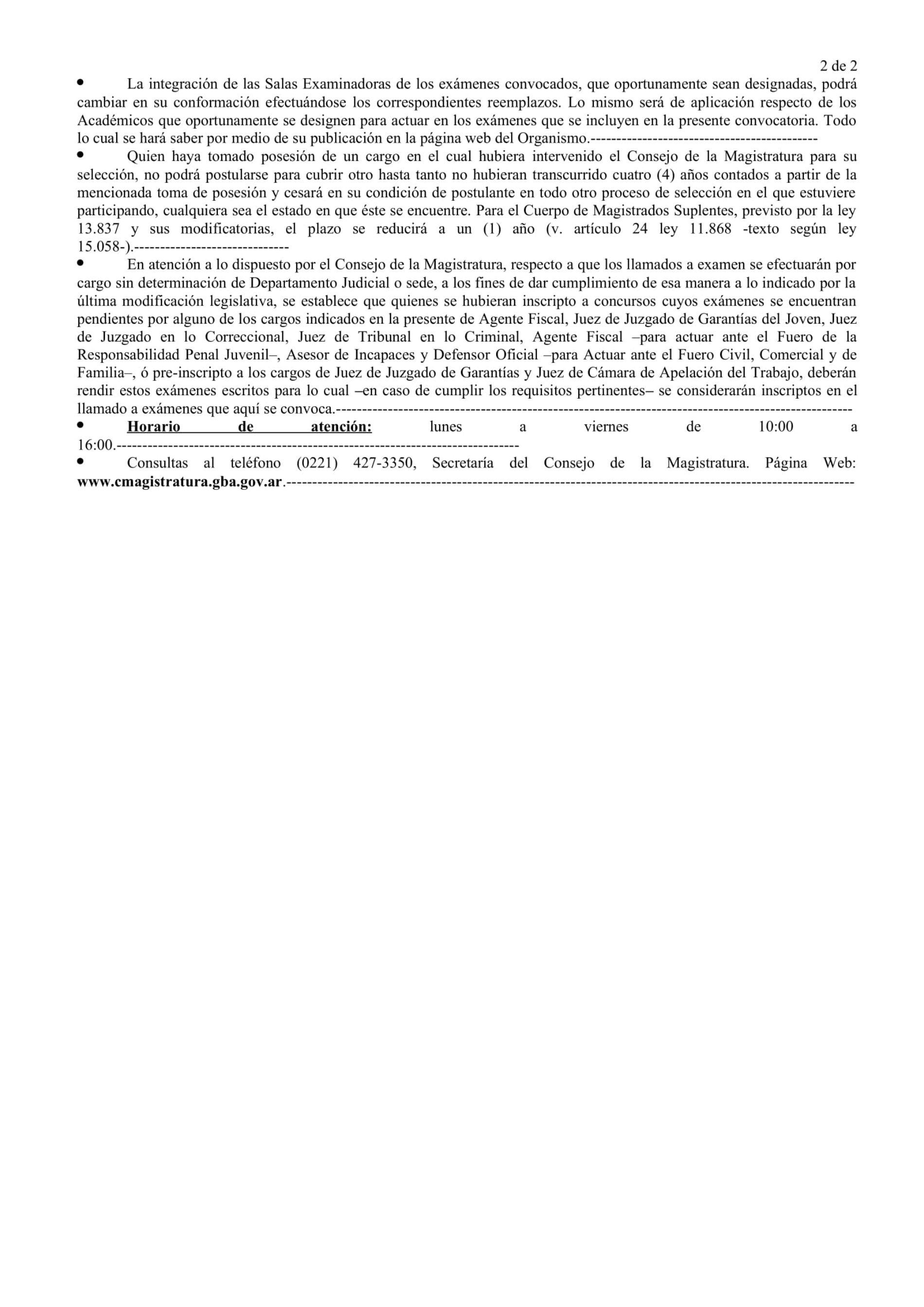 Consejo de la Magistratura de la Provincia de Buenos Aires. Convocatoria Nro. 1