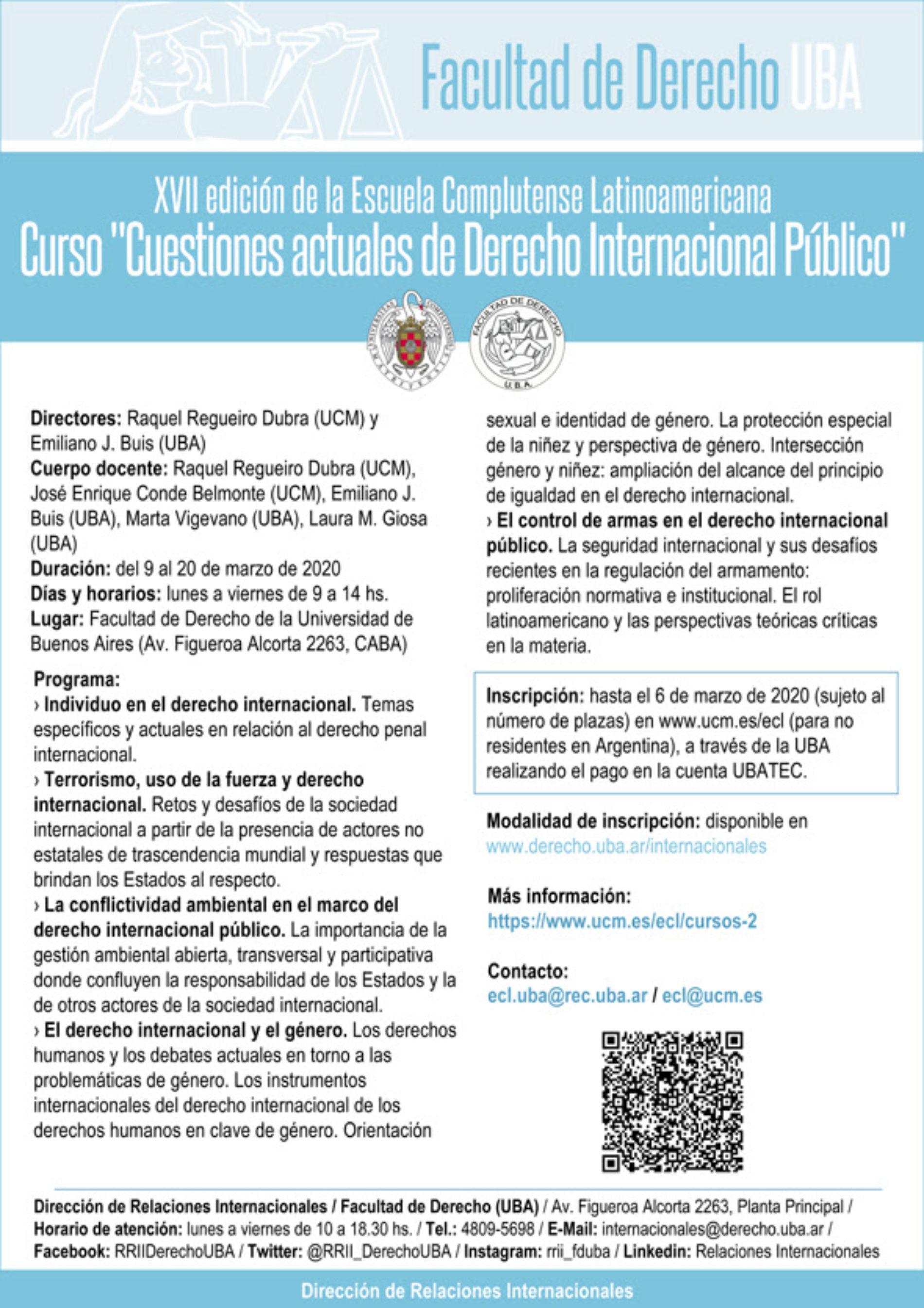 XVII edición de la Escuela Complutense Latinoamericana: Curso «Cuestiones actuales de Derecho Internacional Público»