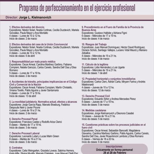 Programa de perfeccionamiento en el ejercicio profesional – Febrero 2020. (Facultad de Derecho – UBA).