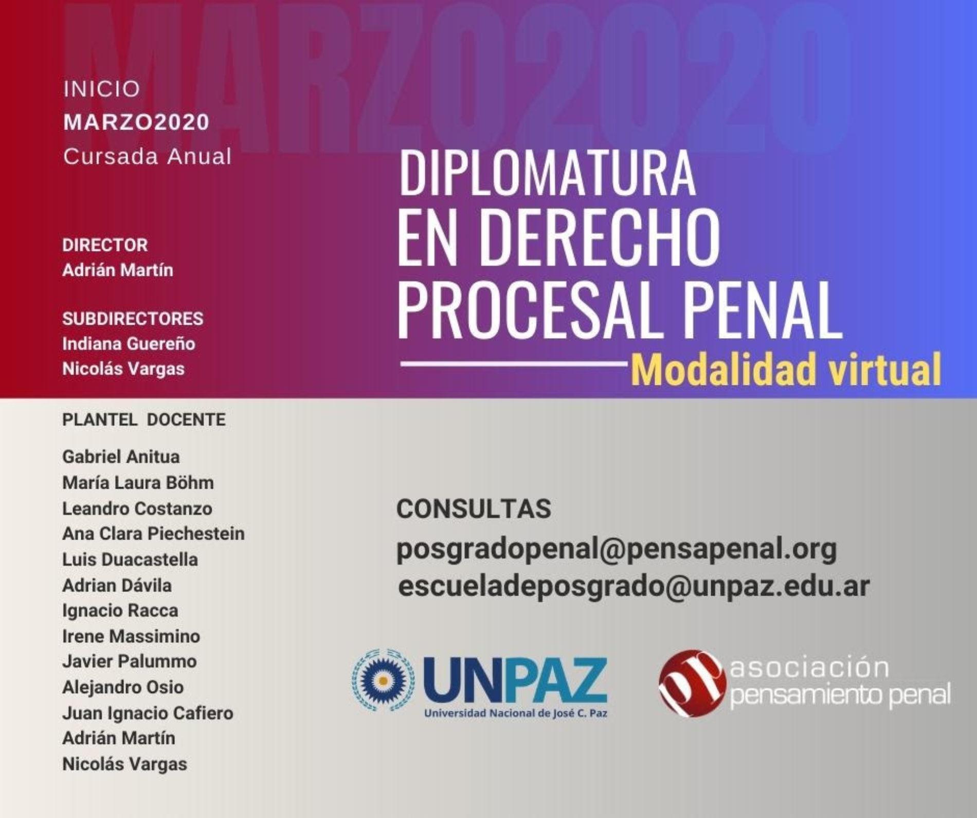 Diplomatura Virtual en Derecho Procesal Penal. APP+UNPaz
