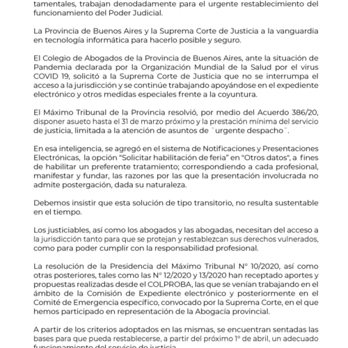 Comunicado del Colegio de Abogados de la Provincia de Buenos Aires por el servicio de justicia en el contexto actual.