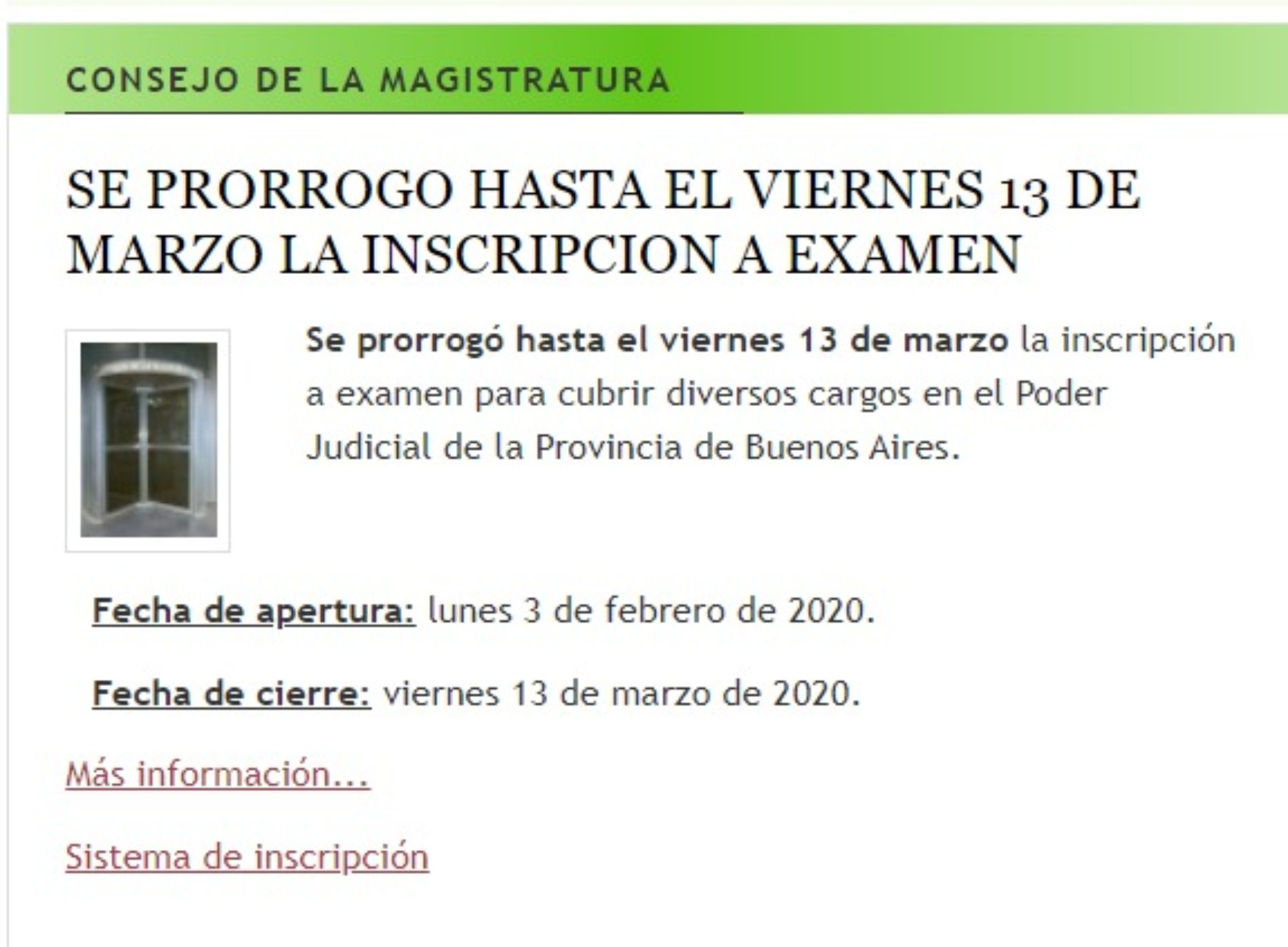 CONSEJO DE LA MAGISTRATURA: Se prorrogó hasta el viernes 13 de marzo la inscripción a examen.