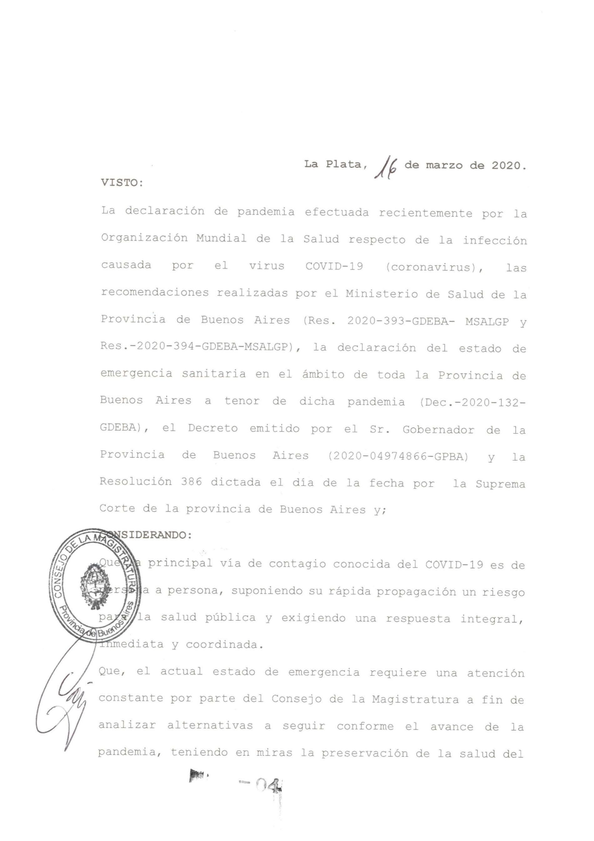 Consejo de la Magistratura Bonaerense (Res. nº 4): Asueto-Guardias Mínimas-Suspensión de Plazos.