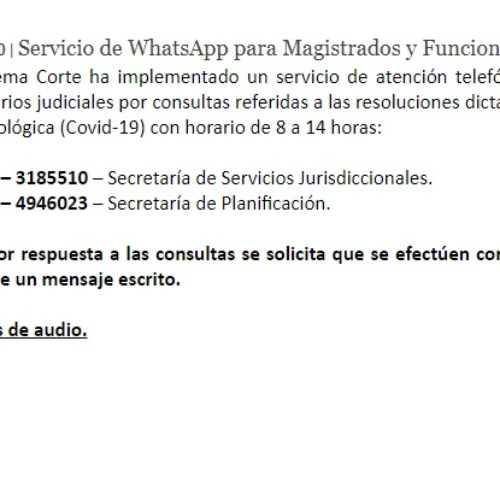 S.C.J.B.A – servicio de atención telefónica por WhatsApp para magistrados y funcionarios judiciales.