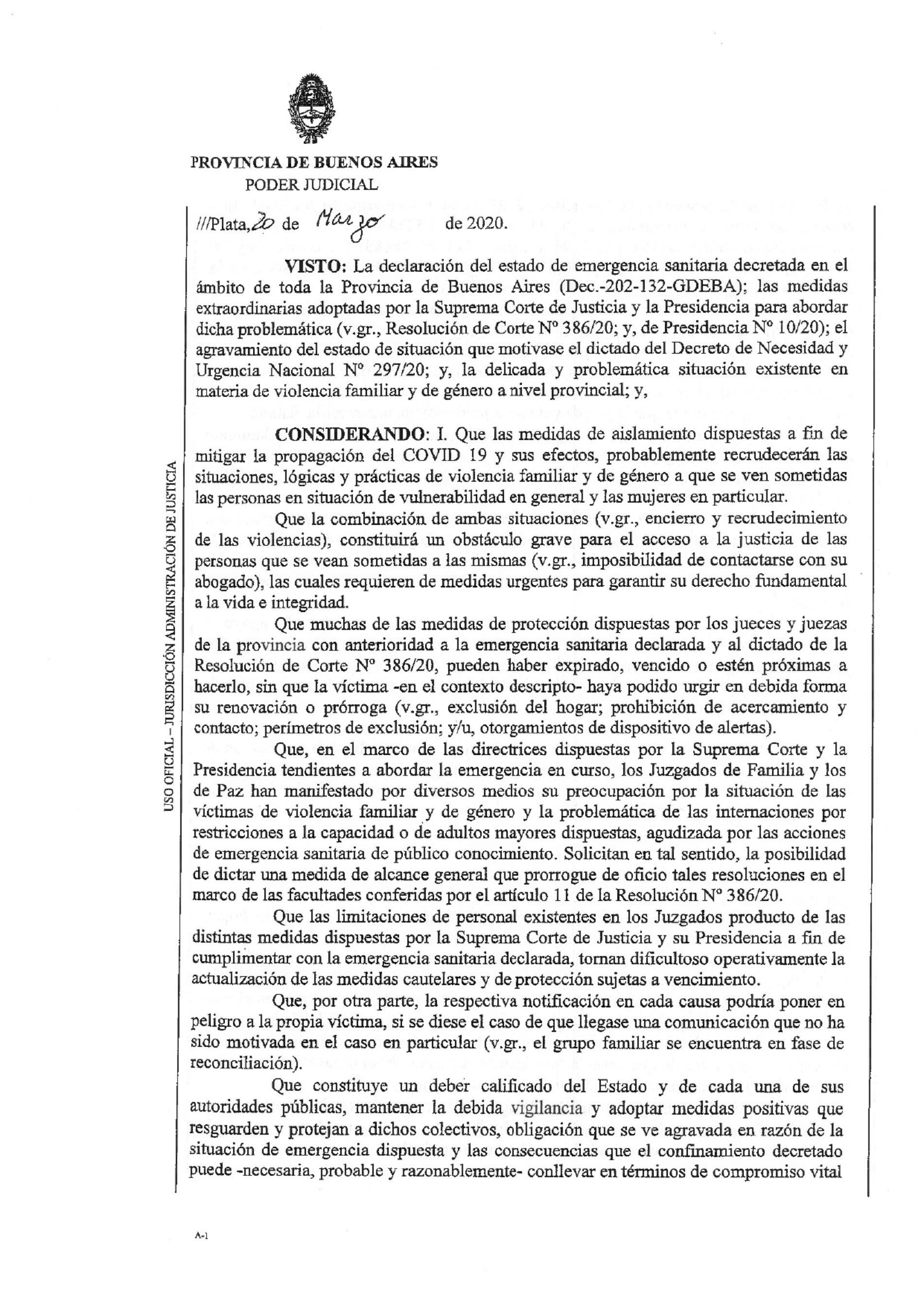 Resolución Nº 12/20 – Suprema Corte de Justicia de la Provincia de Buenos Aires.