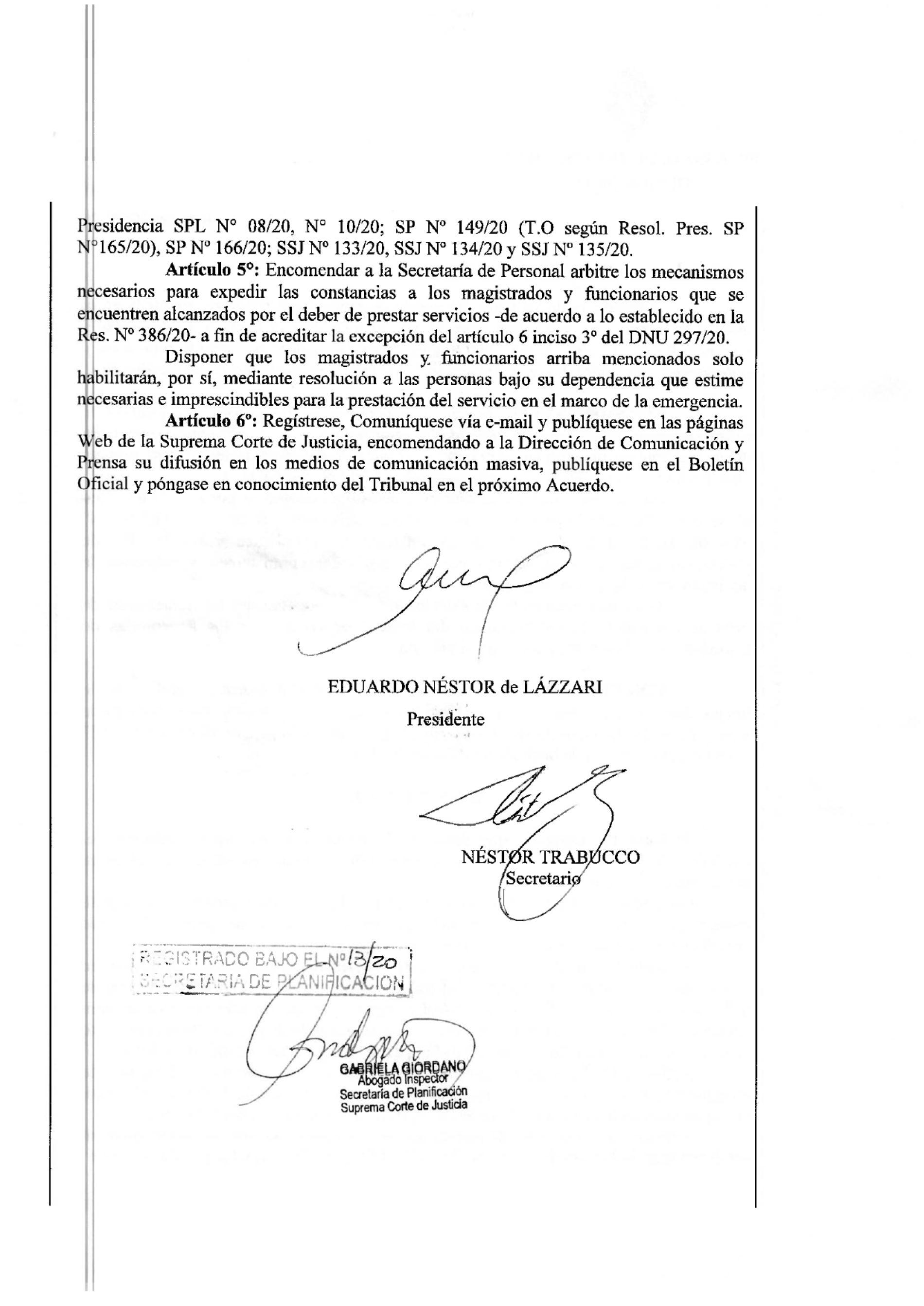 Resolución Nº 13/20 – Suprema Corte de Justicia de la Provincia de Buenos Aires.