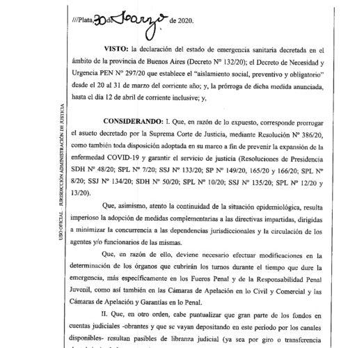 Resolución Nº 14/20 – Suprema Corte de Justicia de la Provincia de Buenos Aires.