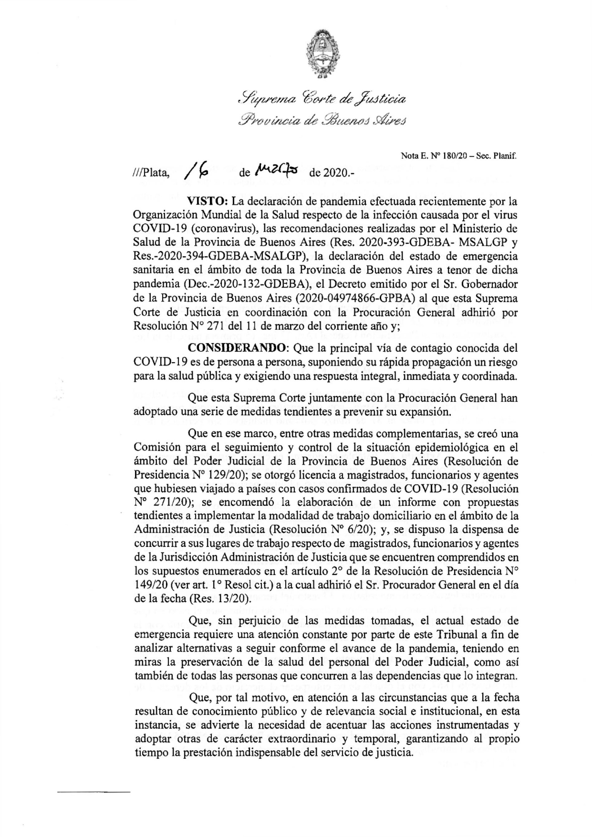 Resolución 386/20 de la Suprema Corte de Justicia de la Provincia de Buenos Aires