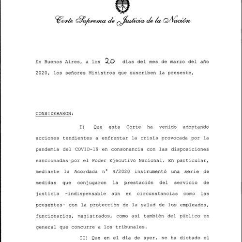 Acordada Nº 6/20 – Corte Suprema de Justicia de la Nación.