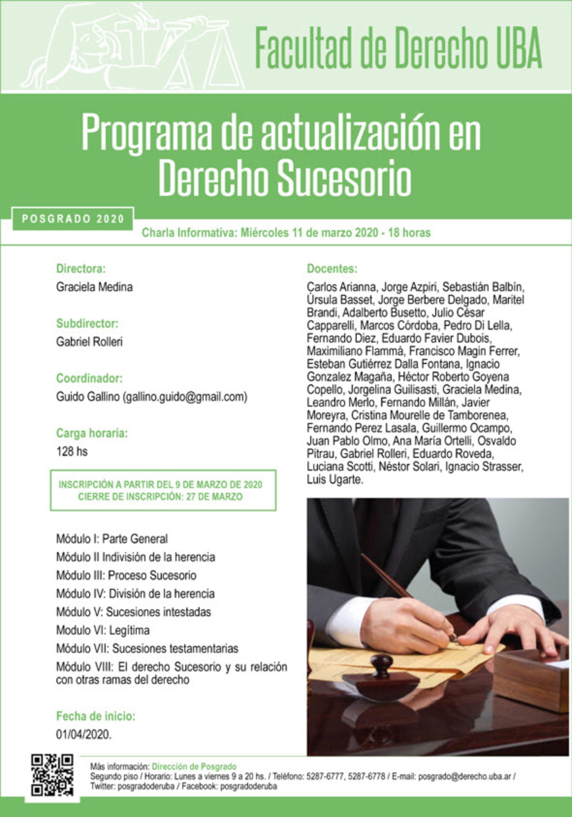 «Charla informativa del Programa de actualización en Derecho Sucesorio»