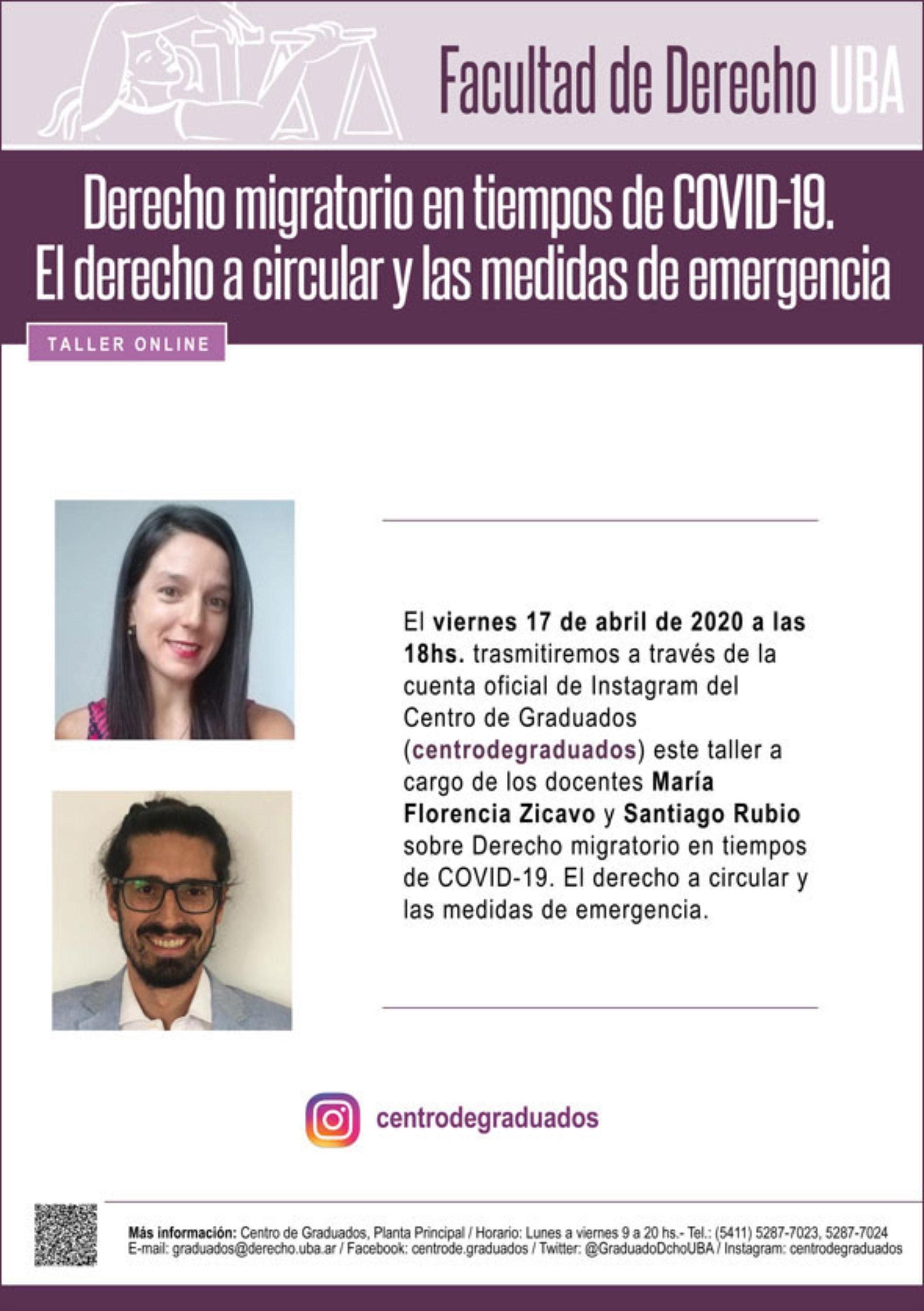 Taller online «Derecho migratorio en tiempos de COVID-19. El derecho a circular y las medidas de emergencia».