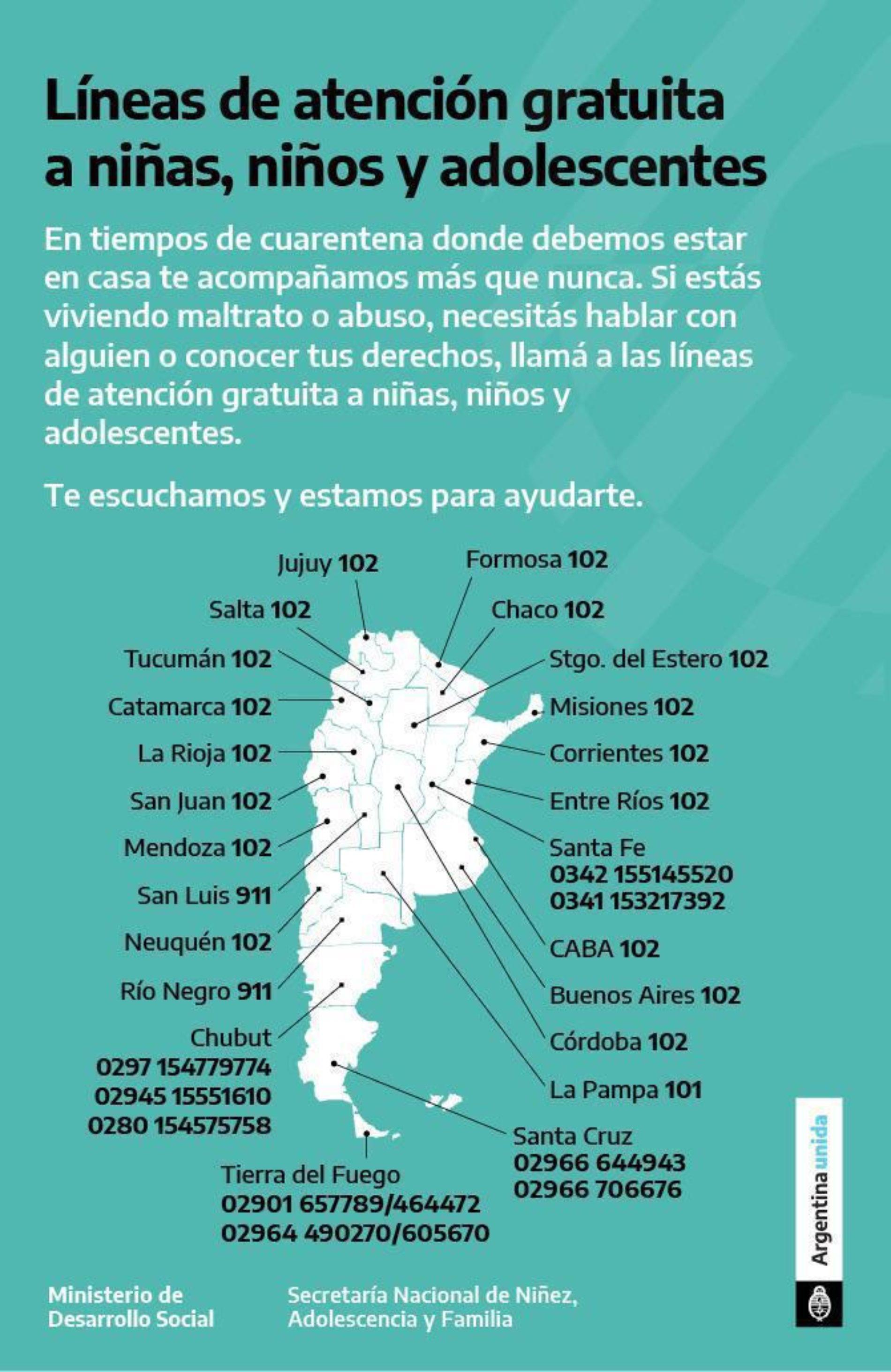 «Líneas de atención gratuita a niñas, niños y adolescentes». Ministerio de Desarrollo Social – Secretaría Nacional de Niñez, Adolescencia y Familia.
