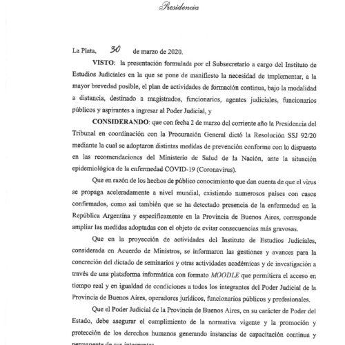 Resolución SSJ 136/20 – Suprema Corte de Justicia de la Provincia de Buenos Aires.