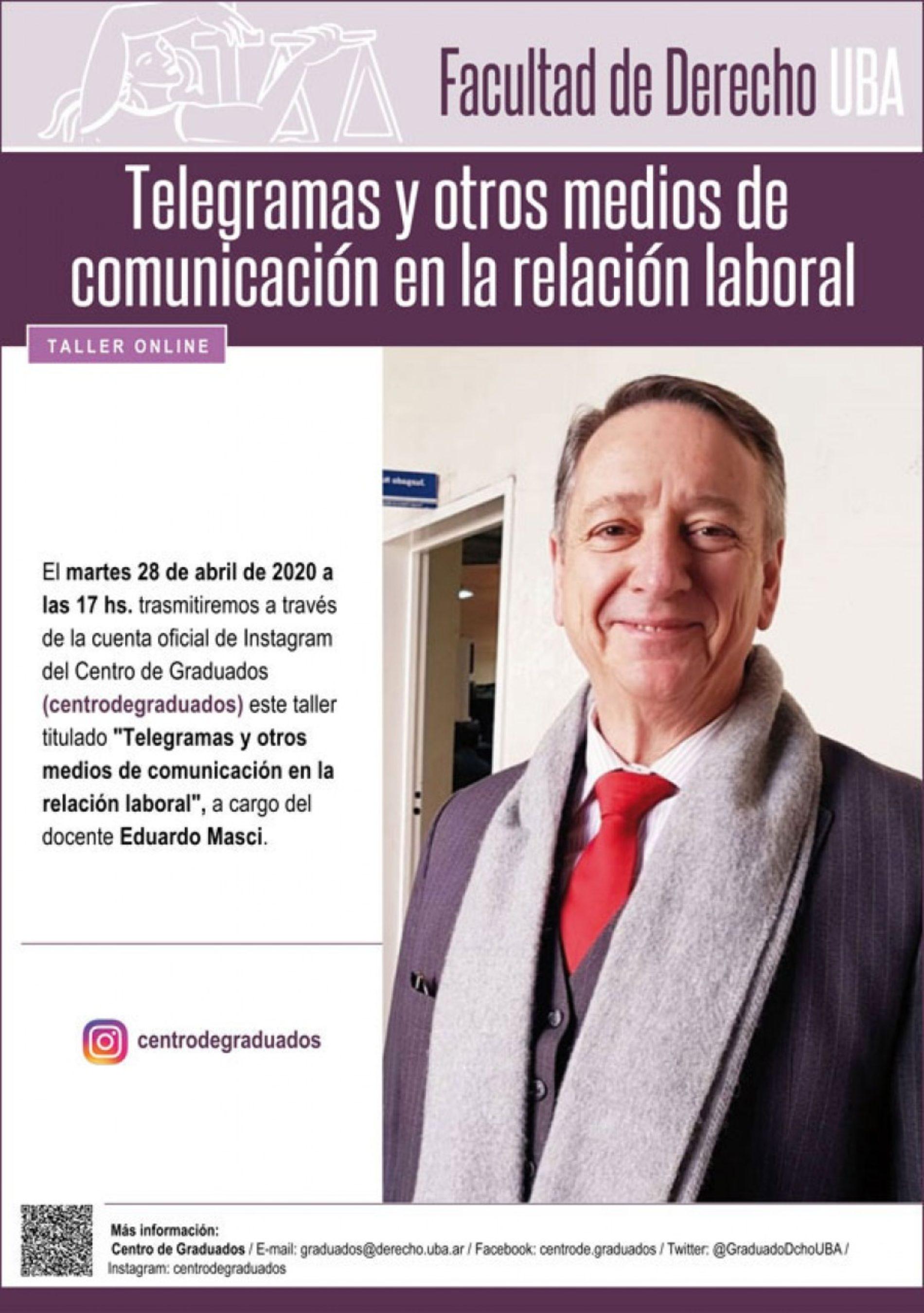 Taller online «Telegramas y otros medios de comunicación en la relación laboral»